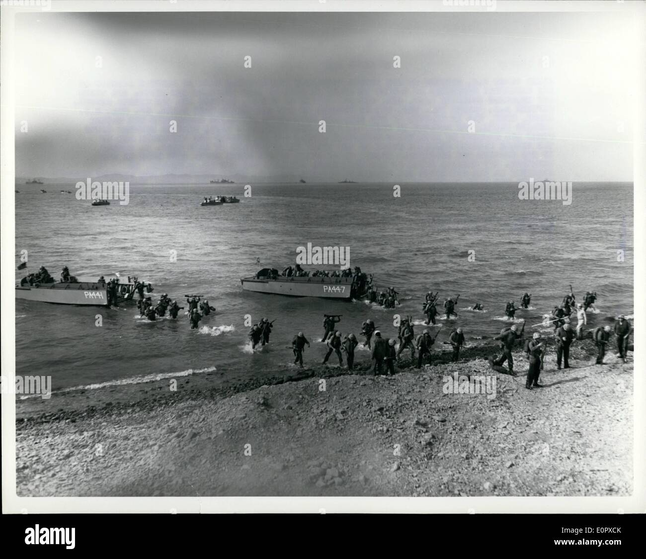 Apr. 04, 1957 - Sixth Fleet U.S. Marines of the second battalion (reimforced) made an assault landing on the Galli  of Turkey 12 April as part of NATO exercise  pivot The three-day exercise involved land, sea and air forces of Turkey, Britain and the United States. Captain B.S. sos Jr. USN was is command of the amphibious task force. Lieutnant Colonel A. I. Lean,  has in command of the 1800 man reforced Battalion compasing the marine landing force - Stock Image