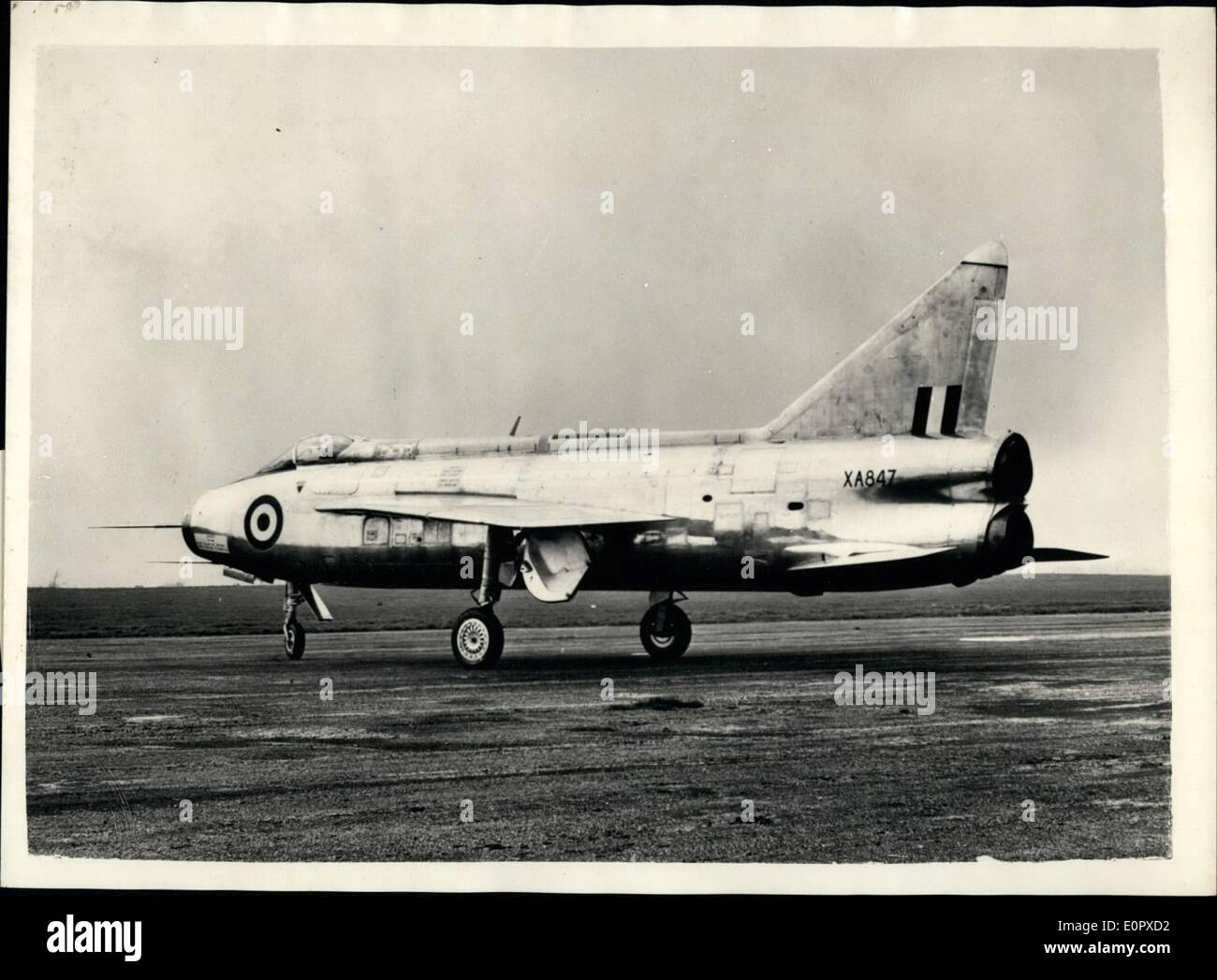 Apr. 04, 1957 - English Electric P.1B. has Maiden Flight. The first English Electric P.1B fully supersonic twin jet fighter made its maiden flight today at Warton aerodome, Lancashire. Wing Commander R.P. Beamont.chief test pilot of English Electric , was at the controls. A production order for the P. 1B has been placed by the ministry of supply , and it will, in due course, go into sevice with fighter command of the Royal Air Force as an all weather day and night fighter . Design work on the P.1B was done by a team led by Mr.F.W Page, Chief Engineer of the English Electric Aircraft Division - Stock Image