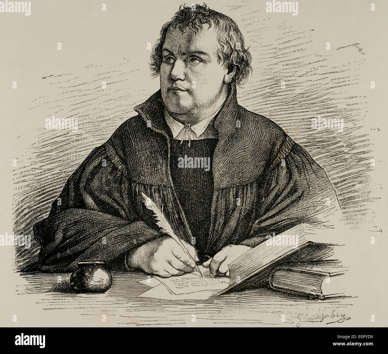 Martin Luther (1483-1546). German reformer. Engraving by G. Spangerberg in Germania, 1882. - Stock Image