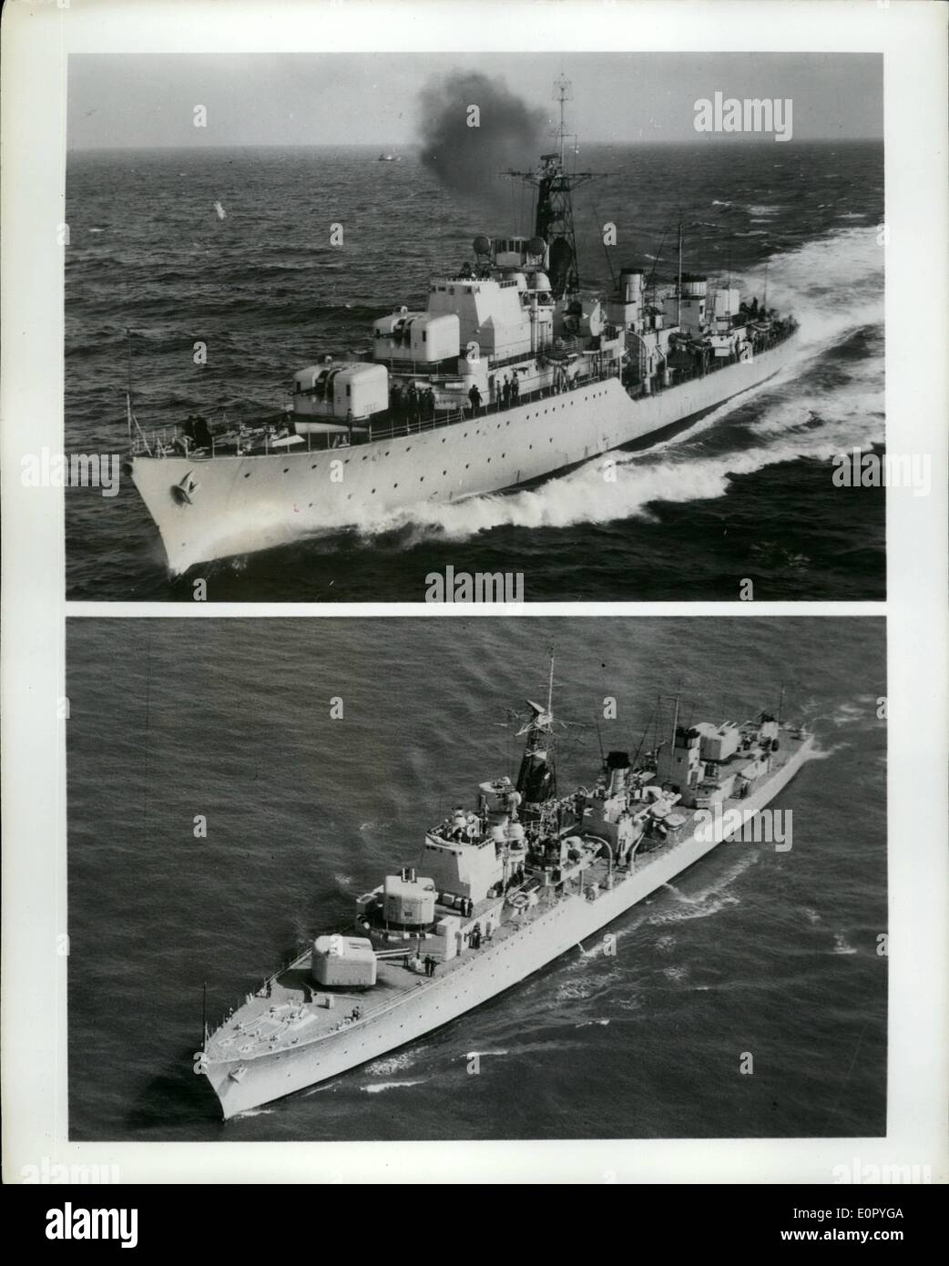 May 05, 1957 - British Squadron to Visit American Waters. The British Squadron at the International Naval review Stock Photo