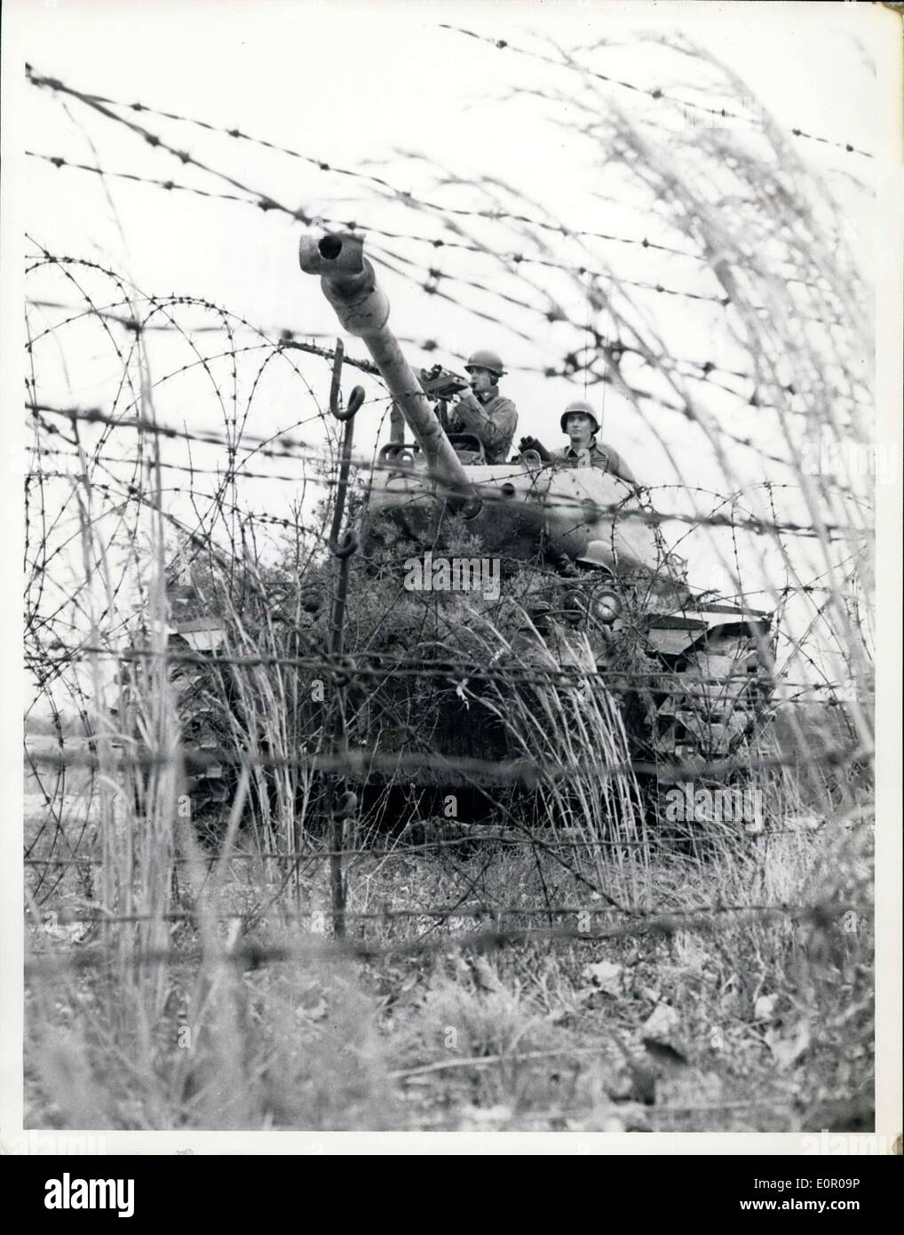 May 31, 1957 - Men of the Second Armored Cavalry - An M-41 Tank of the Second Armored Cavalry Regiment, Fort George Stock Photo