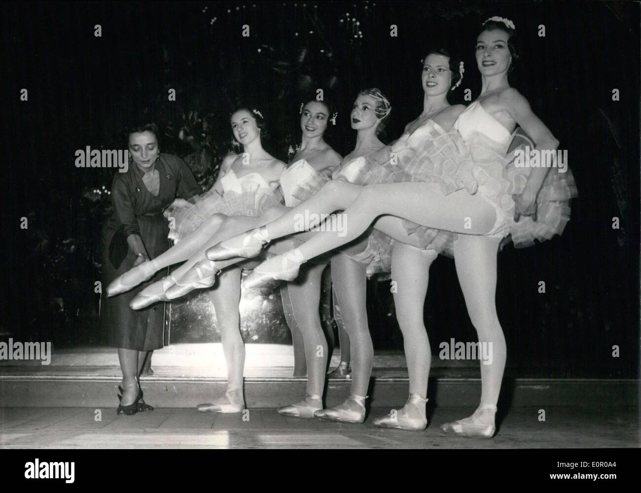 Jun. 03, 1957 - Suzanne Lorcia Inspects the Opera's Ballet Dancers - Stock Image