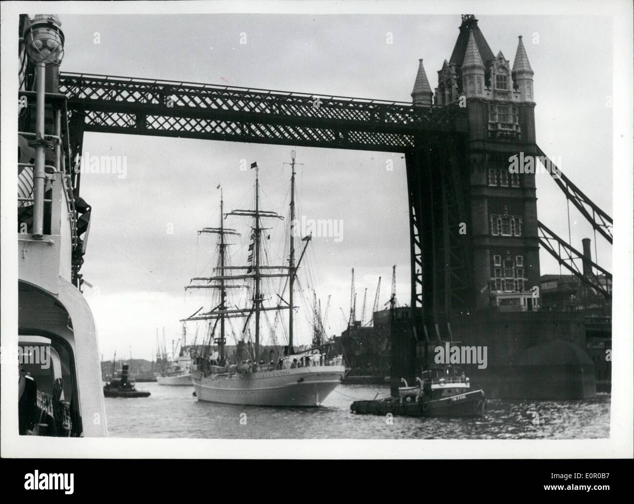 Jul. 07, 1957 - American training barque ''Eagle'' arrives in the Thames - The American Coastguard Practice Squadron flagship Eagle with 350 Cadets aboard arrived in the Thames last evening . They are on their annual nine weeks cruise and the vessel is moored near Tower Bridge . The sailing ship is the old Nazi Cadet ship ''Horst Wessel'' taken over as reparations . The 51 ft. mast of the ship had to be lowered by 14 ft. before she could pass under the top span of Tower Bridge. - Stock Image