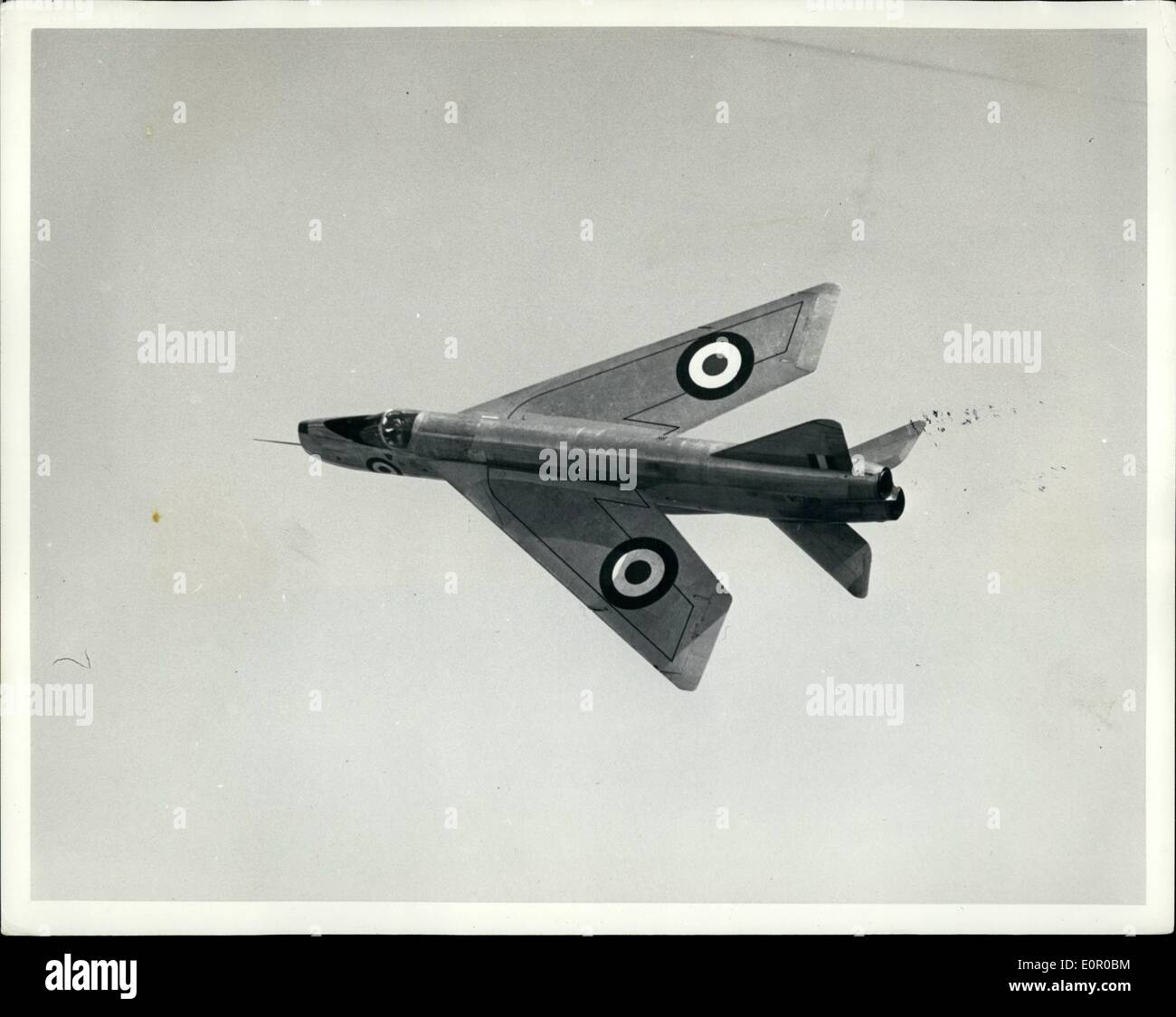 Jul. 07, 1957 - The English Electric P.1 Supersonic Fighter which was shown in public for the first time to day at Warton aerodrome, Lancashire. the P.1 has been ordered for the Royal air force, and is being made at the Preston works of the English Electric Company Ltd the Aircraft has flown faster than the world speed record of 1,132m.p. Comprehensive ground testing of the P.1.aircraft and its components have been carried out. this has included hundreds of hours ''flying'' in both low and high speed wind tunnels at warton and the stressing to destruction of a completed airframe - Stock Image
