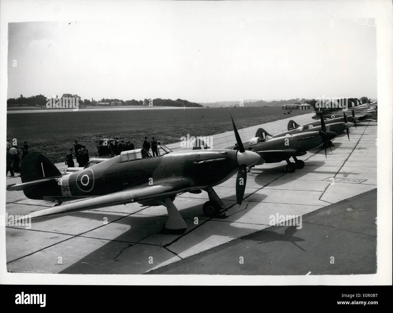 Jul. 07, 1957 - Spitfire Aircraft Join''Battle of Britain Flight'' at R.A.F. Biggin Hill.: The three remaining Spitfires in the - Stock Image