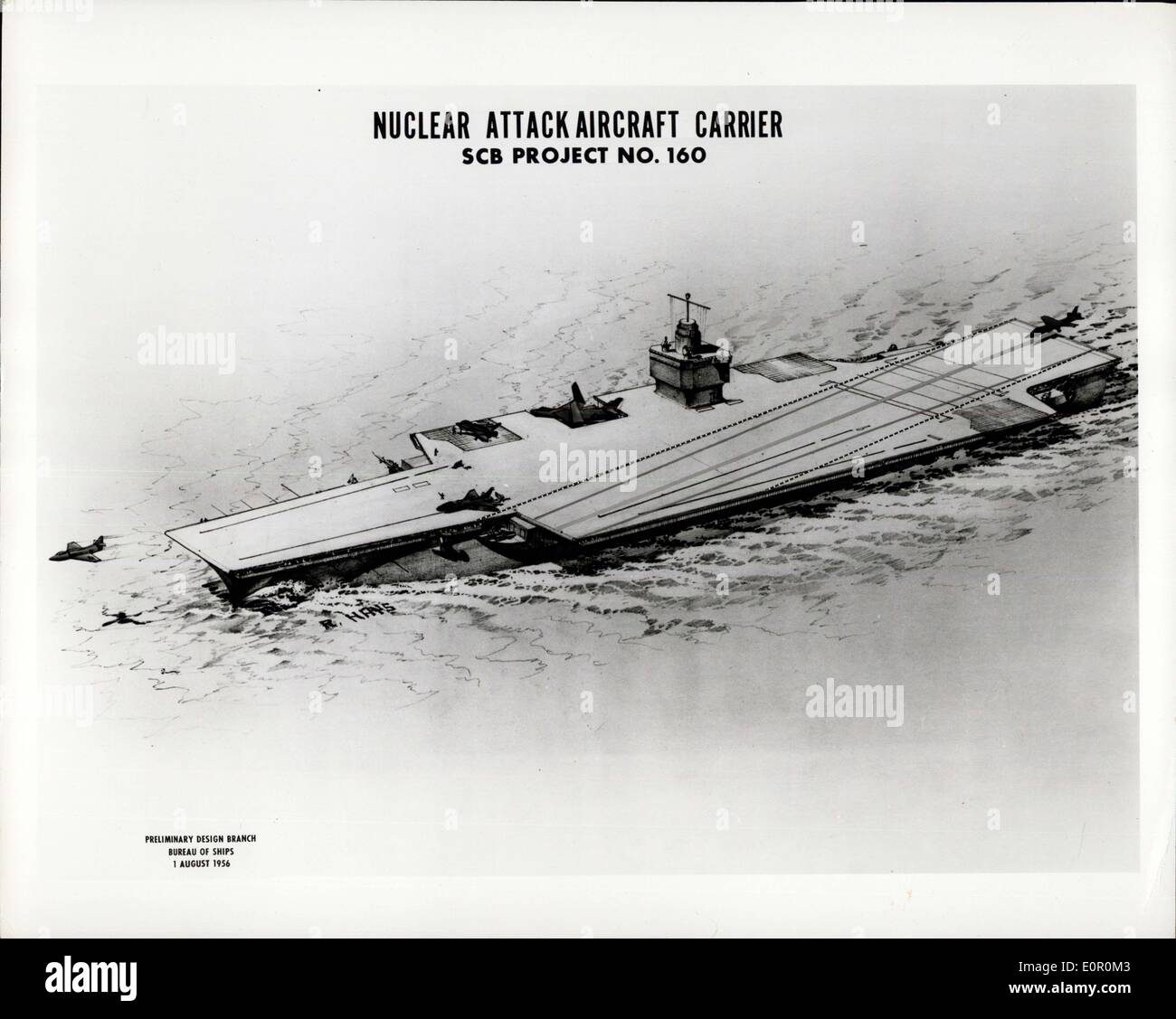Aug. 02, 1957 - Artist's Concept Of The Navies Proposed Nuclear-Powered Carrier (CVA (N)). CVA(N) Will Represent The Most Modern Of A Long Series Of Attack Carriers, Starting With The USS Langley In 1922, One Of The More Important Features Of The CVAN Will Be Almost Unlimited Steaking Endurance At High Speed. Operational Flexibility Will Be Increased Also, As A Result Of This Capability, Since High Speeds Can Be Maintained Without Regard To Conserving Fuel Oil; Offensive And Defensive Capabilities Will Be Improved And Replenishment Requirements Such Rejuced - Stock Image