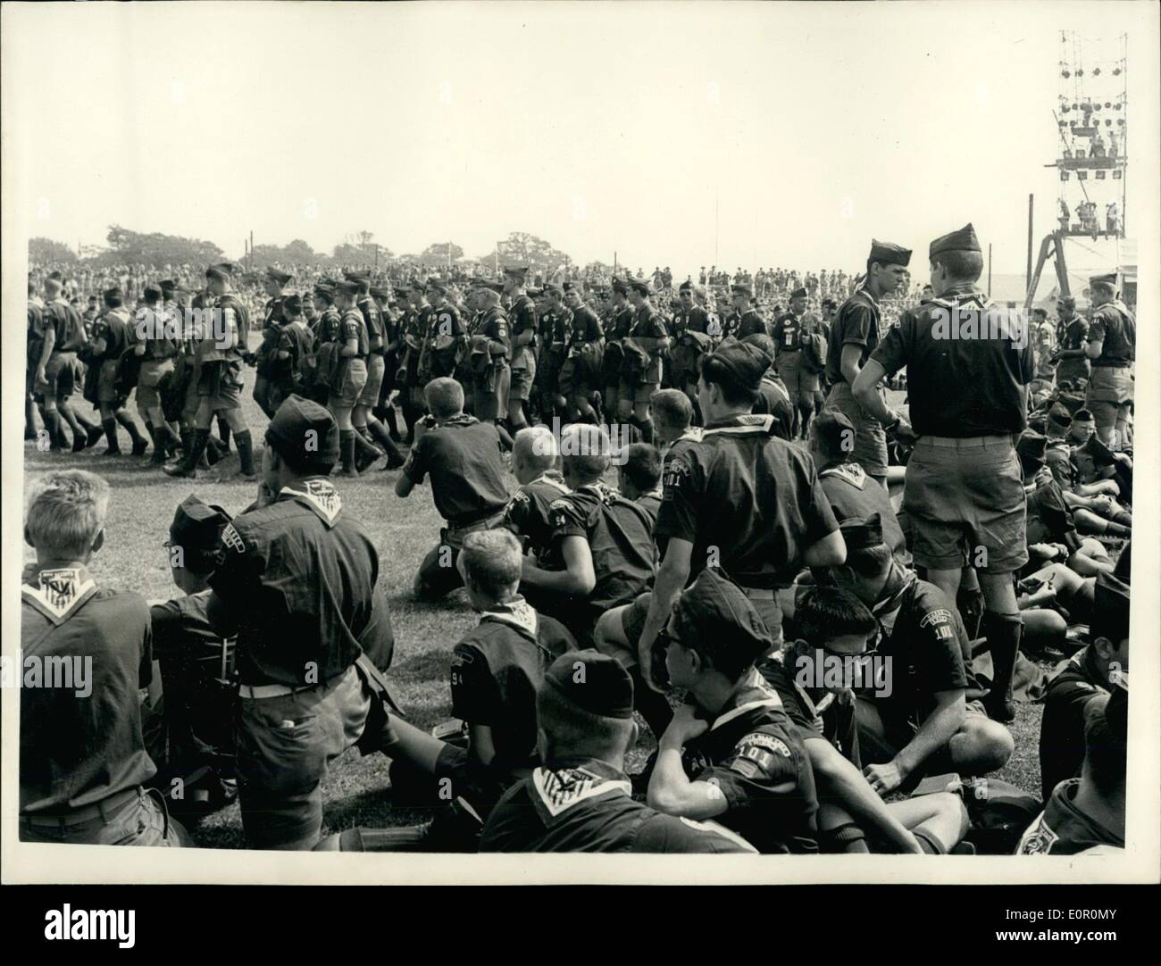 Aug. 08, 1957 - Duke of Gloucester Opens Scouting Jamboree. The World Scout Jubilee Jamboree at Sutton Coldfield, England, was opened by the Duke of Gloucester, who is President of the Boy Scouts Association. After the Duke had made his speech of welcome he drove round the ranks of 35,000 Scouts from 82 countries and toured the camps in which they are living. Picture Shows:- American Scouts at Camp Sutton on opening day. - Stock Image