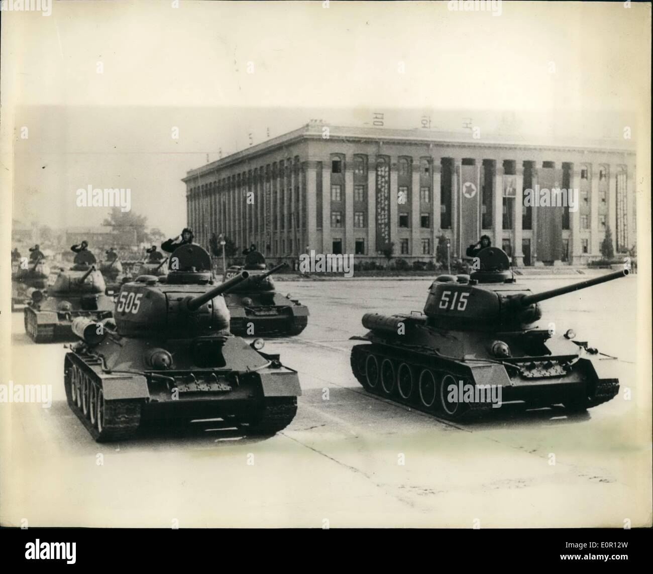 Aug. 08, 1957 - North Korea Celebrates Liberation Anniversary.: Russian made tanks took part in the military parade held at Kim - Stock Image