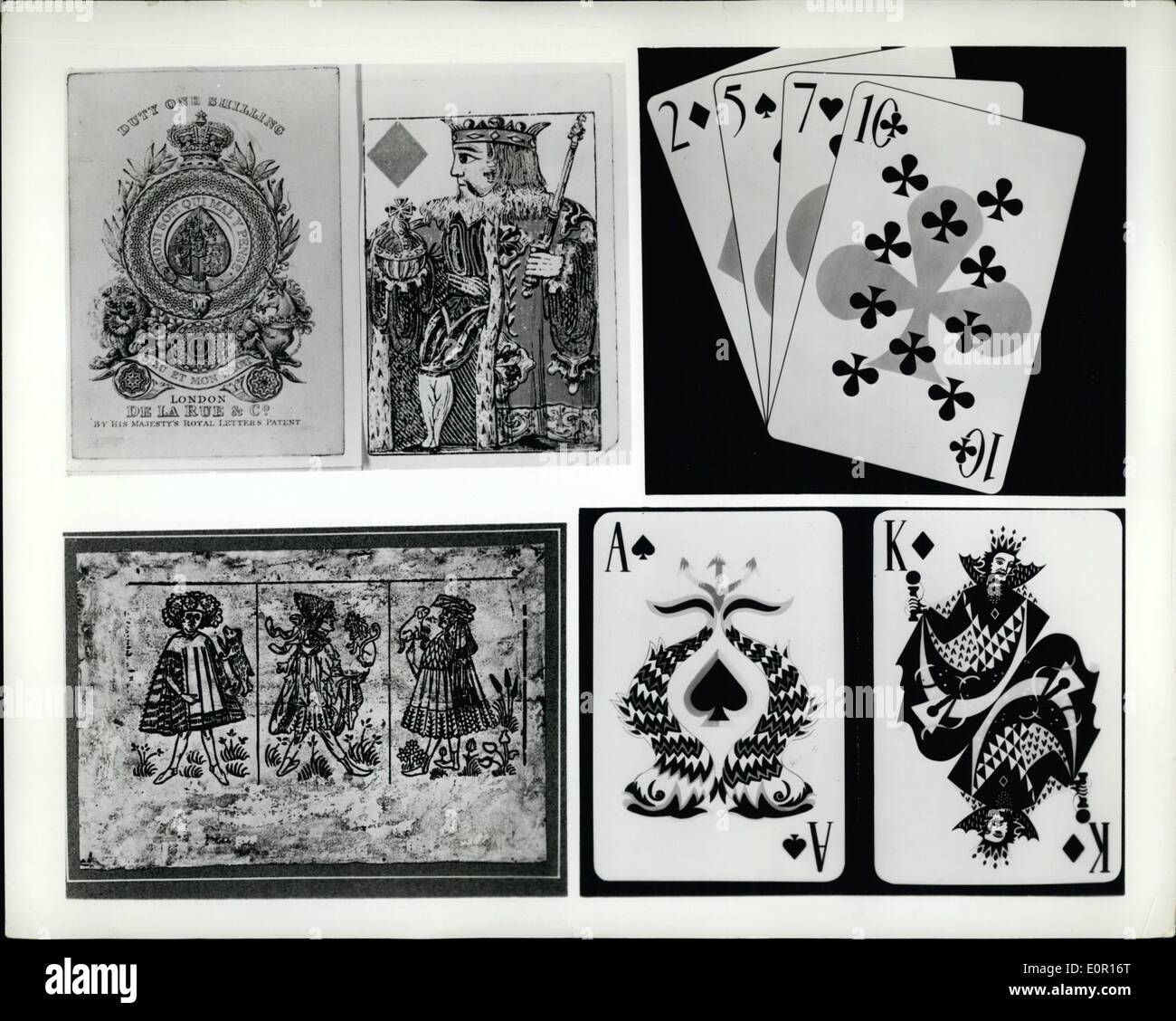 Sep. 09, 1957 - 125th Anniversary Of Playing card Printing To Be Celebrated: Delegates from all over the world will gather in London on October 8 and 9 for a conference of playing card manufacturers to mark the 125th anniversary of the first printing of playing cards by the typographical process. A highlight of the conference will be an exhibition of playing cards spanning five centuries. Photo shows: Some playing cards to be exhibited - Stock Image