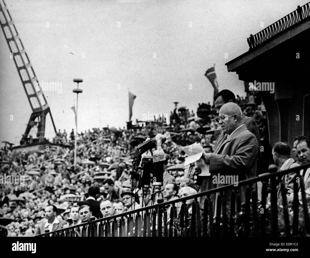 Prime Minister Nikita Khrushchev gives a speech - Stock Image