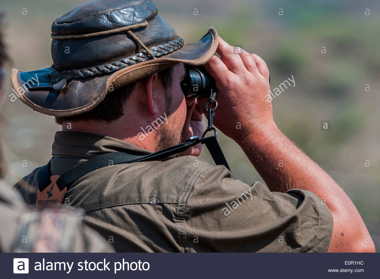 A professional hunter is looking with a pair of binoculars at game to be hunted on a hunting farm in Namibia. - Stock Image