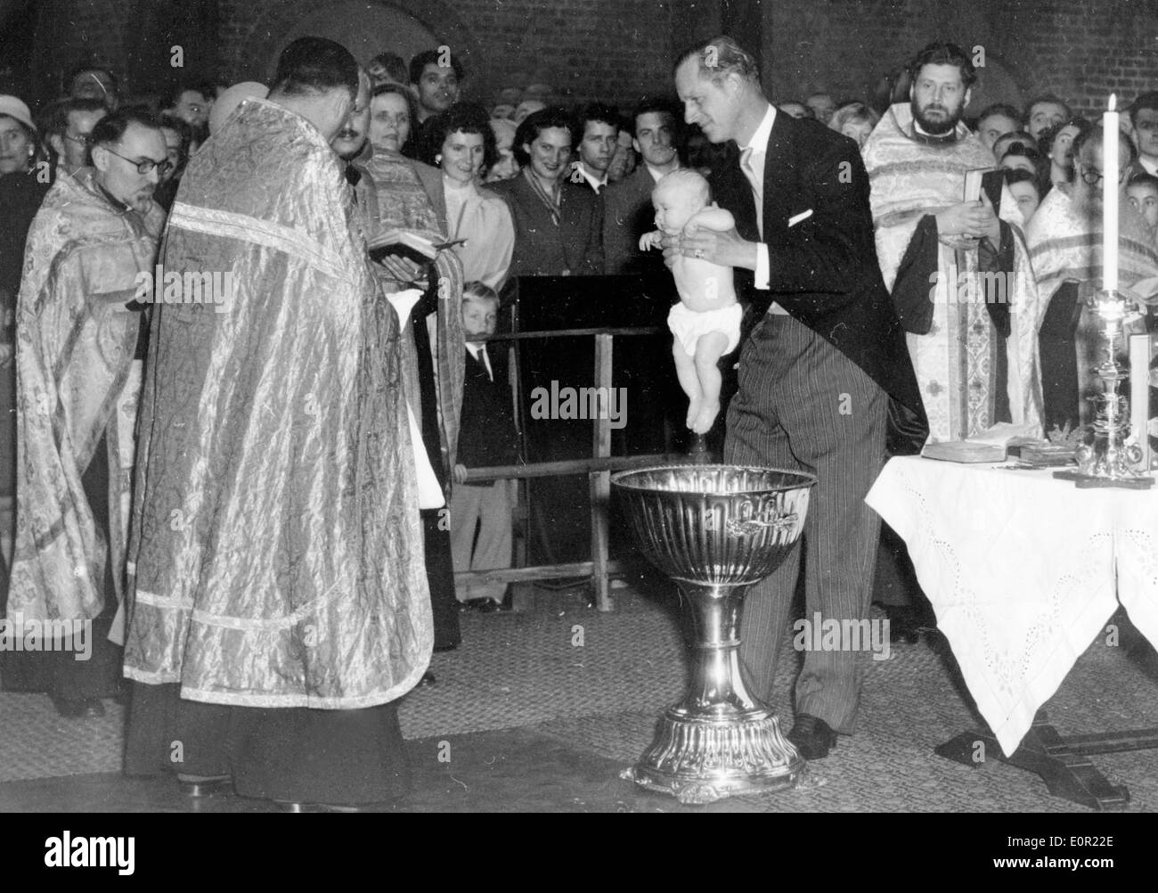 Prince Philip attends baptism of Princess Maria Stock Photo