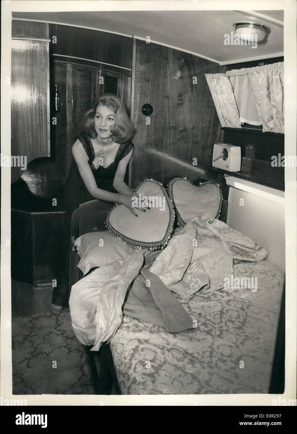 Dec. 12, 1957 - Preparing for the national boat show. The ''Wedding Belie'' motor cruiser for Honeymooners: Preparations Stock Photo