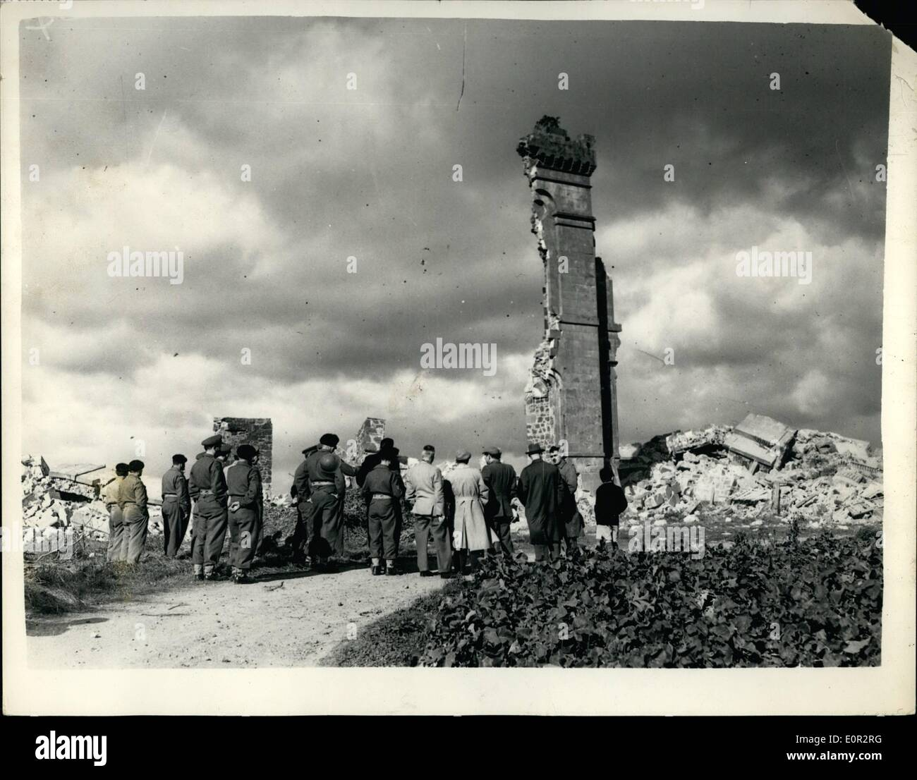 Oct. 10, 1957 - Ancient Castle Goes Up In Smoke. Blown Up By 500 LBS Of Explosives: The 150 year old Rossie Castle, near Montress was recently demolished by 80 officers and men of the 117 Field Engineering Regiment - with the aid of 500 lb. of plastic explosive. Within 30 seconds the castle - which was sold to a professional footballer 20 years ago for 1 - was reduced to 20,000 tons of rubble which will be used by the local council for road widening. For weeks the Army engineers had been boring holes in the 3ft. 6 in - Stock Image