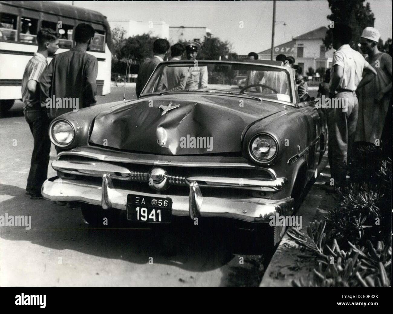 Jan. 01, 1958 - The car of the U.S. Airforce serviceman Sgt. Mouzali on which there can be seen the damages caused when the car - Stock Image