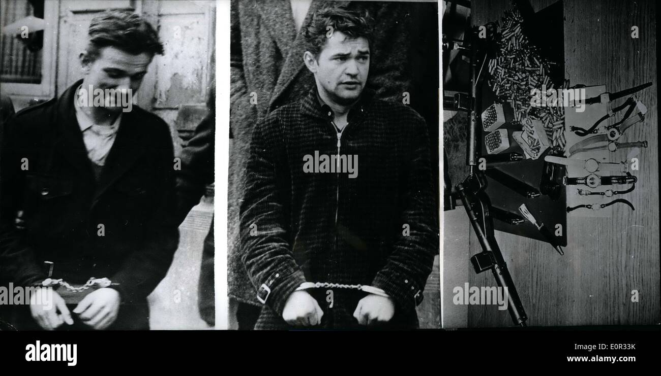 Jan. 01, 1958 - Heavy-weaponed robbers arrested by Saar-police: Two young bandits, who near Homburg Saar , were executing a num - Stock Image