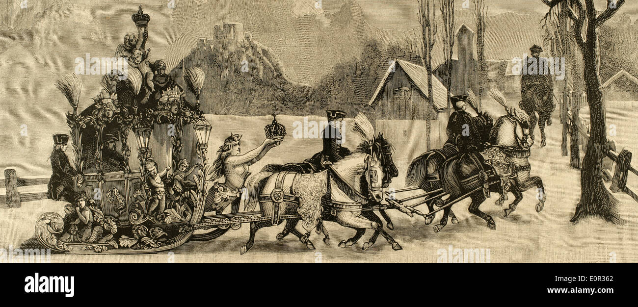 Ludwig II of Bavaria (1845-1886). King of Bavaria. The King travelling in sleigh. Engraving. - Stock Image