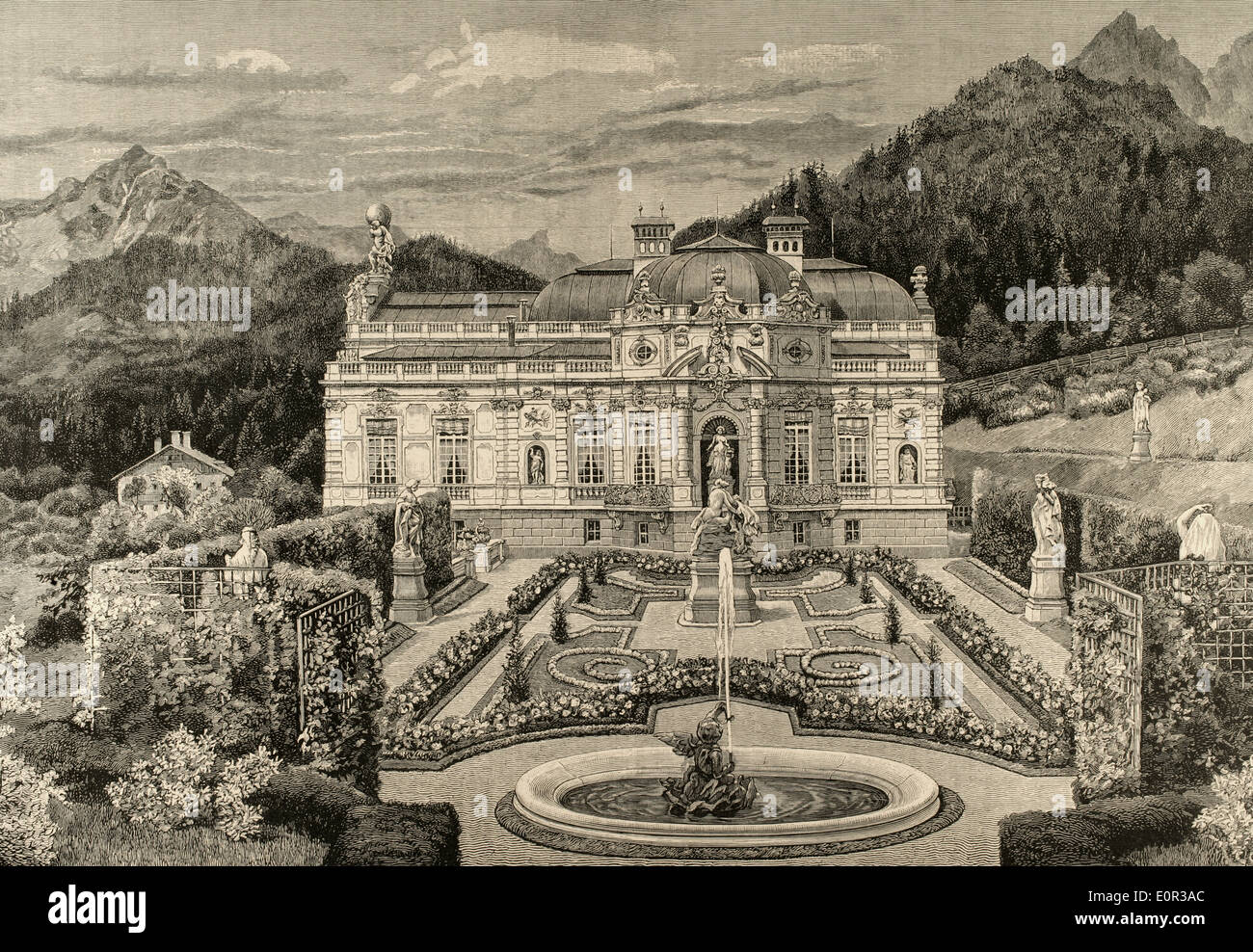 Ludwig II of Bavaria (1845-1886). King of Bavaria. Palace of Linderhof. Engraving. - Stock Image