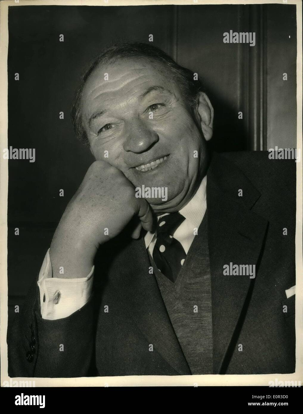 Jan. 01, 1958 - Popular Pre war in London. Victor McLaglen prepares for New film. Photo shows Victor McLaglen the popular star of pre war days when at the savoy Hotel this evening. He is here to star in the new film ''Sea Fury'' with Italian starist Buciana Paoluzzi. - Stock Image