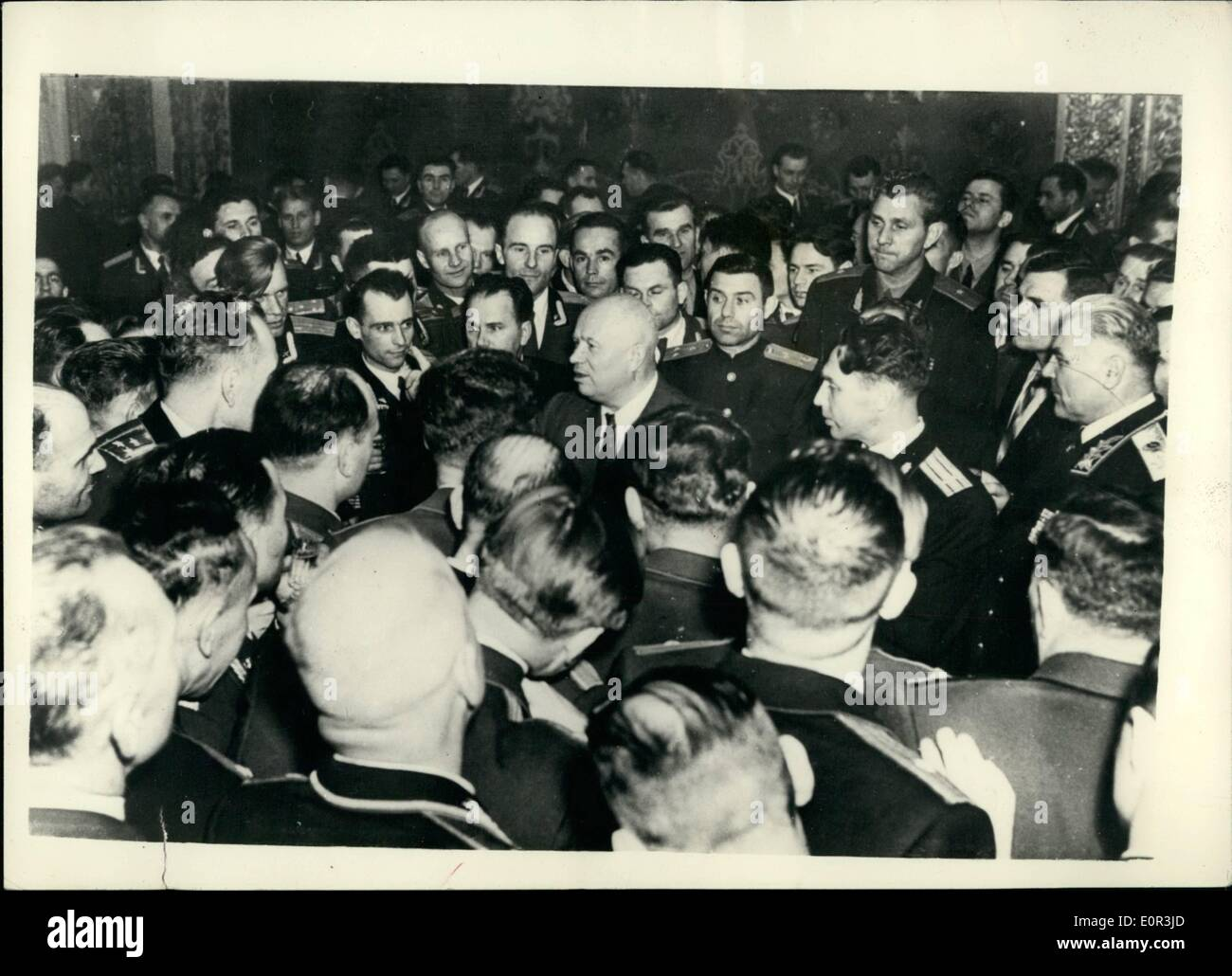 Nov. 11, 1957 - Mr, Kruschev Attends Reception At Moscow Military Academy.: The cultural Committee of the Communist Party of the Soviet Union and U.S.S.R. Council of Ministers arranged a reception for a graduates of Moscow Military Academies.: Photo shows Mr. Kruschev, First Secretary of the Central Committee of the CPSU among the graduated of the Moscow Military Academy - during the reception. - Stock Image