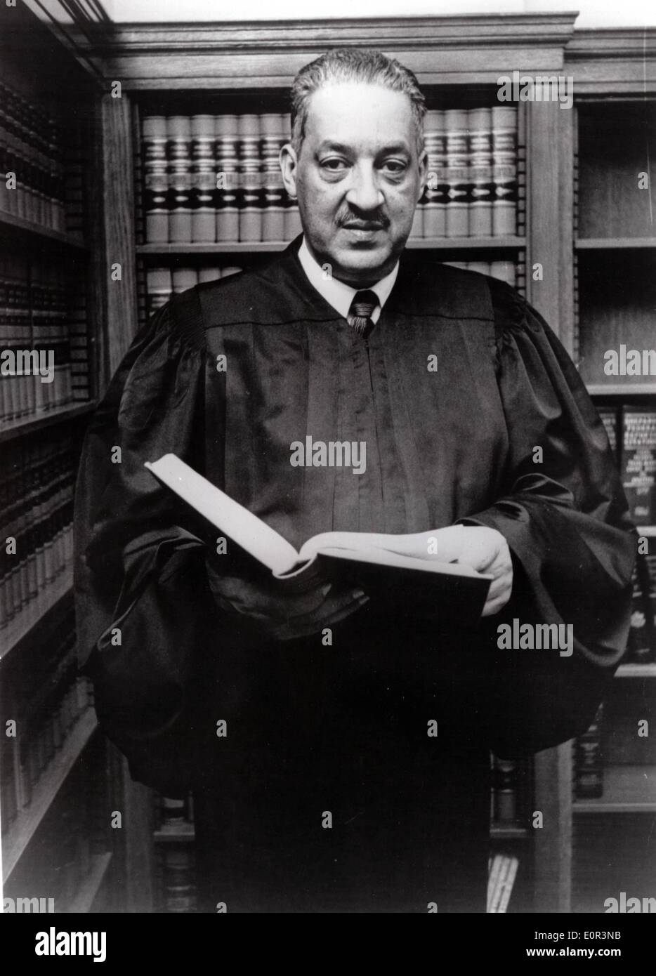 Jan. 01, 1958 - Washington , District of Columbia, U.S. - File Photo: circa 1958. Half a century after the historic ruling in Brown v. Board of Education that overturned segregated education, the US is marking 50 years of racial school integration. (File Photo: Date Unknown) Shown here as a Circuit Court Judge, THURGOOD MARSHALL, was the lead attorney in the Brown v. Board of Education case. - Stock Image