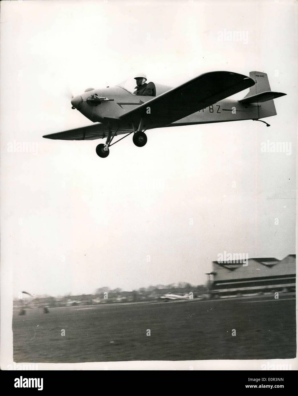 Jan. 02, 1958 - The Do it yourself plane takes the air on its first trial flight; A plane that will fly from Croydon Stock Photo