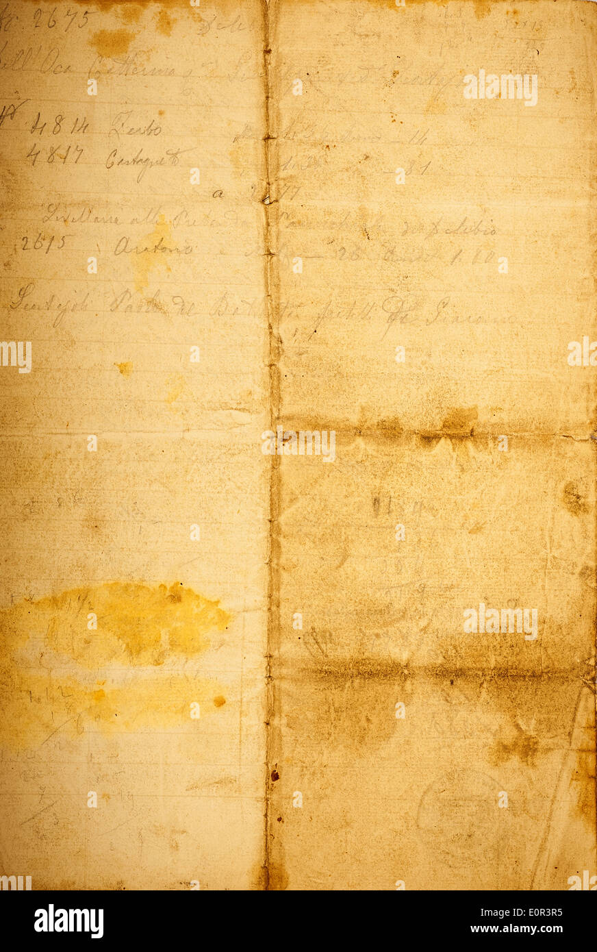 Dirty old parchment with spots and stripes Stock Photo