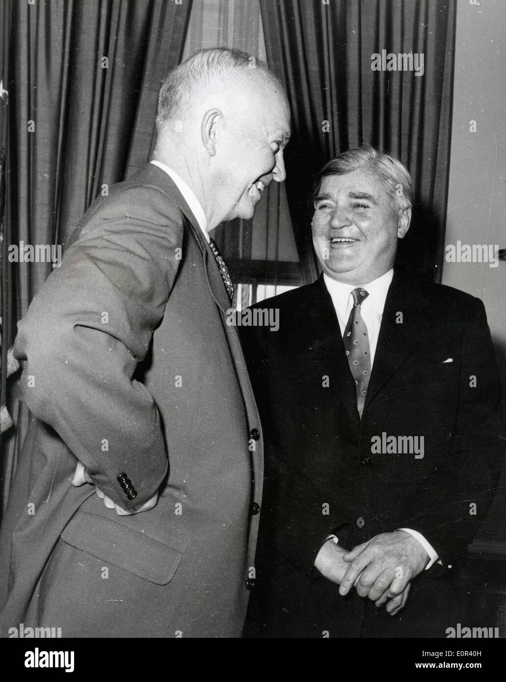 Aneurin Bevan shares a laugh with President Eisenhower - Stock Image