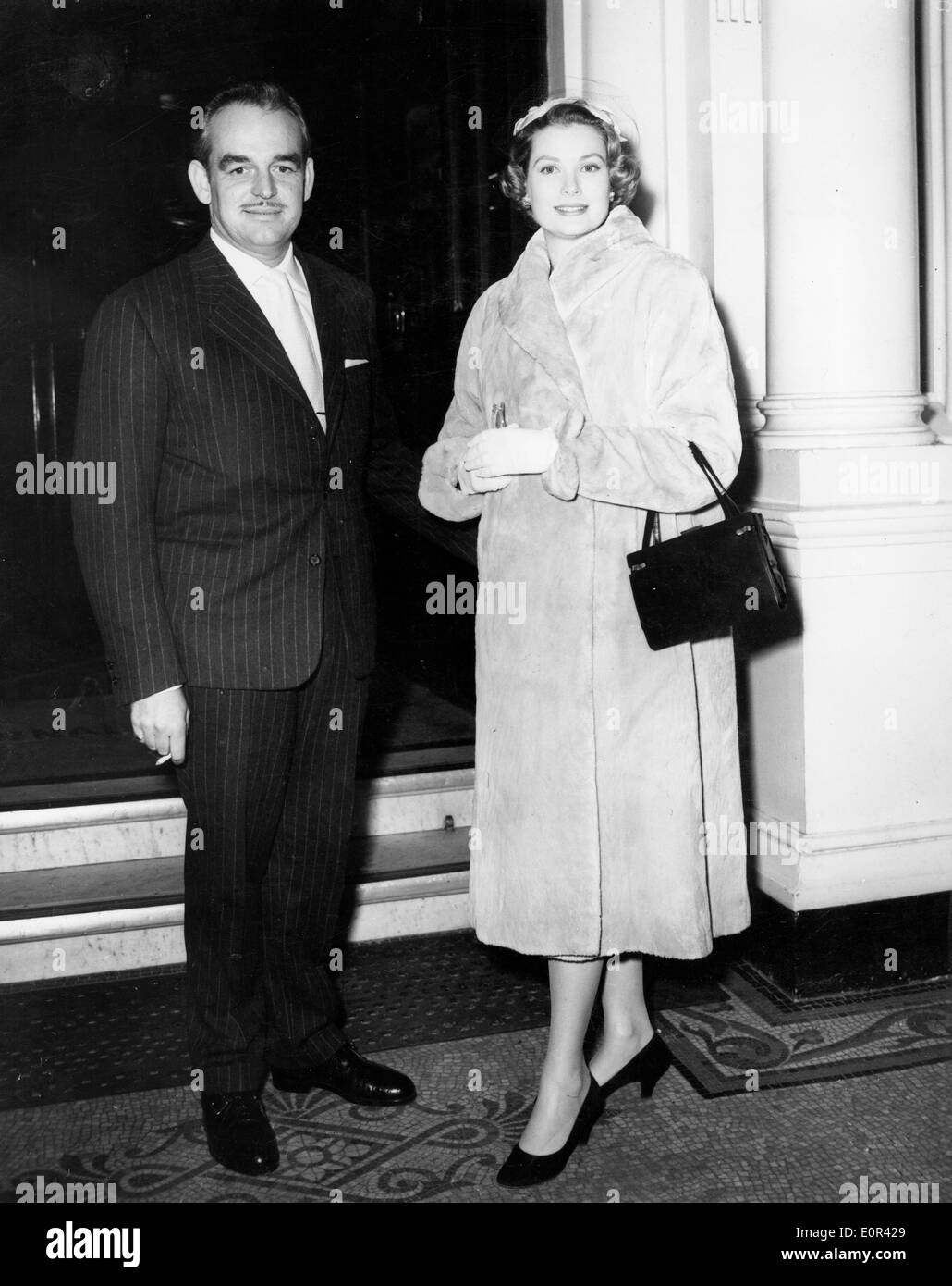 Prince Rainier with wife Grace Kelly visiting Buckingham Palace - Stock Image