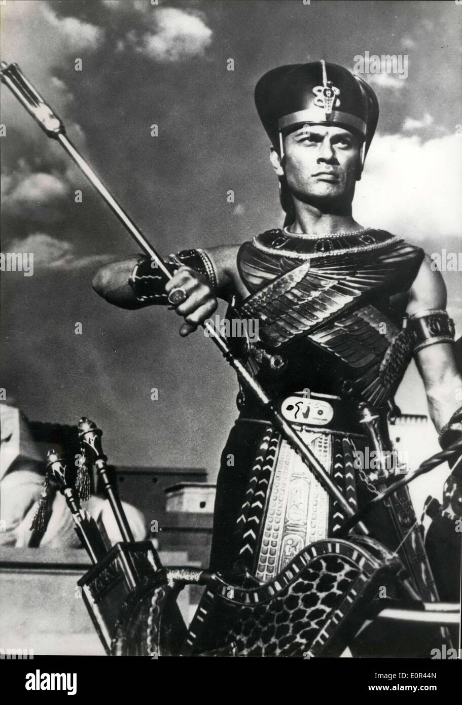 Jan. 17, 1958 - Cecil B. De Mille's new version of ''Ten Commandments'': Yul Brynner as Ramses II in the new version of ''Ten Commandments'' produced by Cecil B. De Mille. - Stock Image