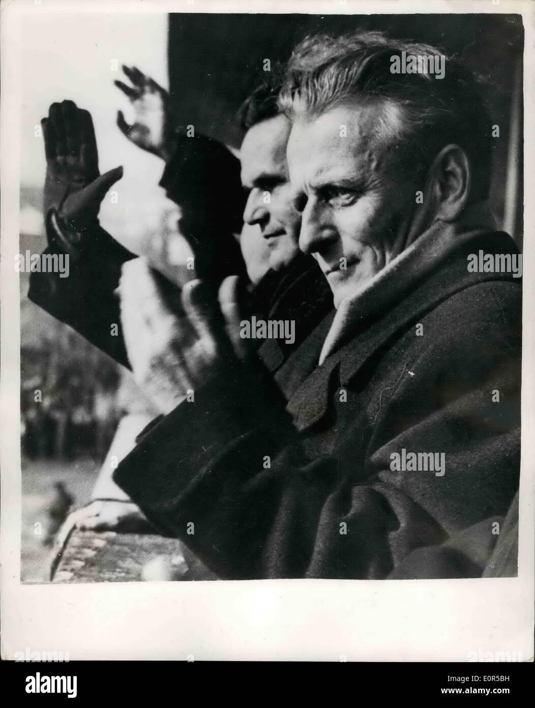 Feb. 28, 1958 - 28-2-58 Grand People's Militia Parade in Prague – A grand People's Militia parade was held - Stock Image