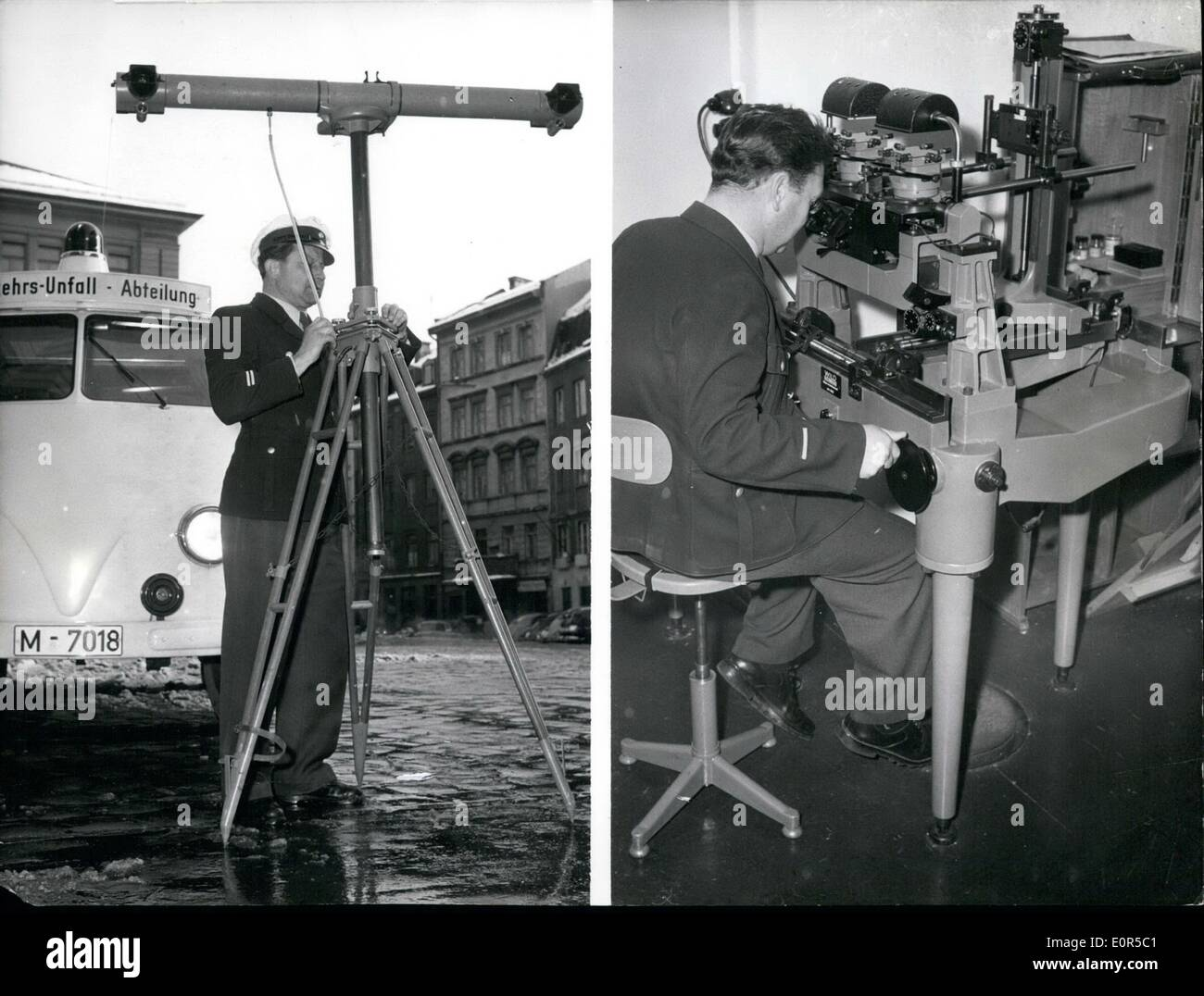 Mar. 03, 1958 - Police probing 3-dimensional photography. Since a few weeks, the Munich traffic accident police is trying out an apparatus for taking up an accident, produced in Switzerland. This apparatus is very similar to the Flak of the II World War. By means of another apparatus, the accident situation will be shown on a plane in the office of the accident police. The Munich police hopes to get a great help with this apparatus. Our picture shows:- Left side the apparatus for taking the pictures and on the right side the apparatus, which works out the pictures of the other one. - Stock Image