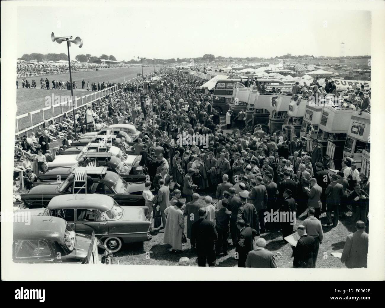 Jun. 06, 1958 - Derby Day - At Epsom. General View. Photo shows General view showing a section of the huge crowd - at Epsom today - for the 1958 Derby. - Stock Image