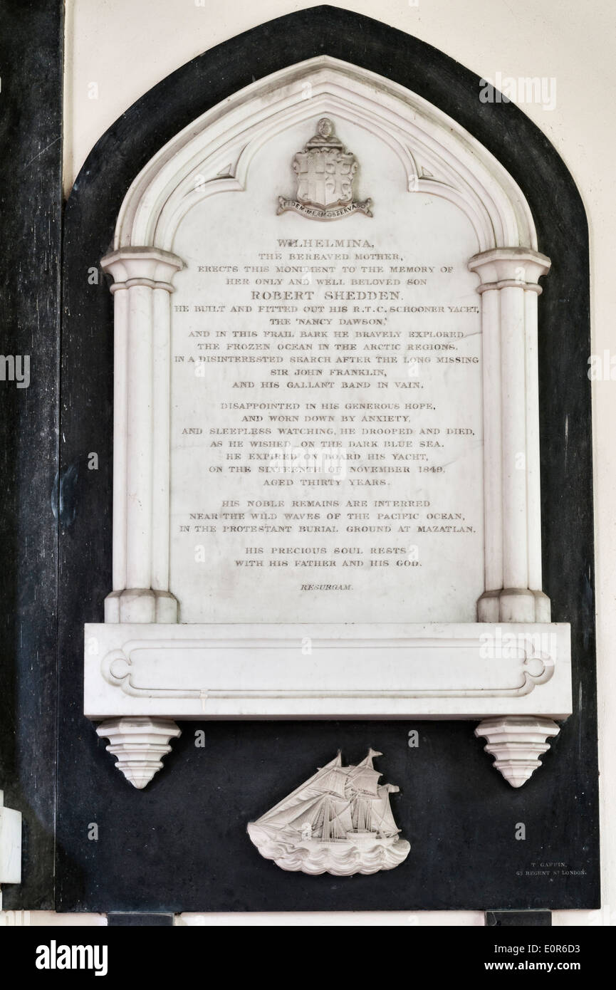 St Mary's Church, Hardmead, UK. Memorial to Robert Shedden, who sailed in search of the lost Arctic explorer Sir John Franklin - Stock Image