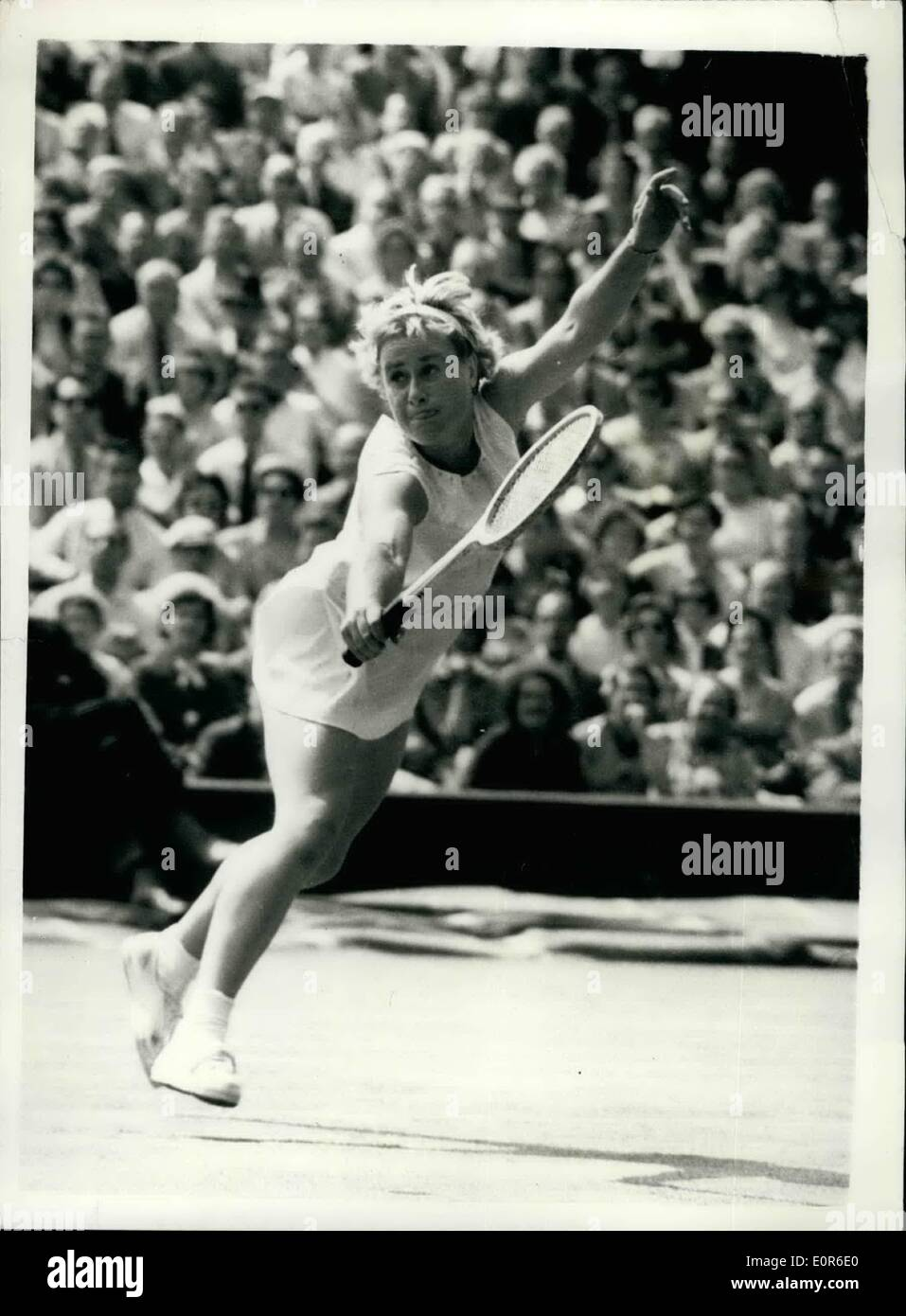 Jun. 06, 1958 - Wight man cup at Wimbledon.Shirley Bloomer in play. Photo shows Miss.Shirley Bloomer in play during her match with American's Mrs.Dorthy k node in the Wight man cup at Wimbledon this afternoon. - Stock Image