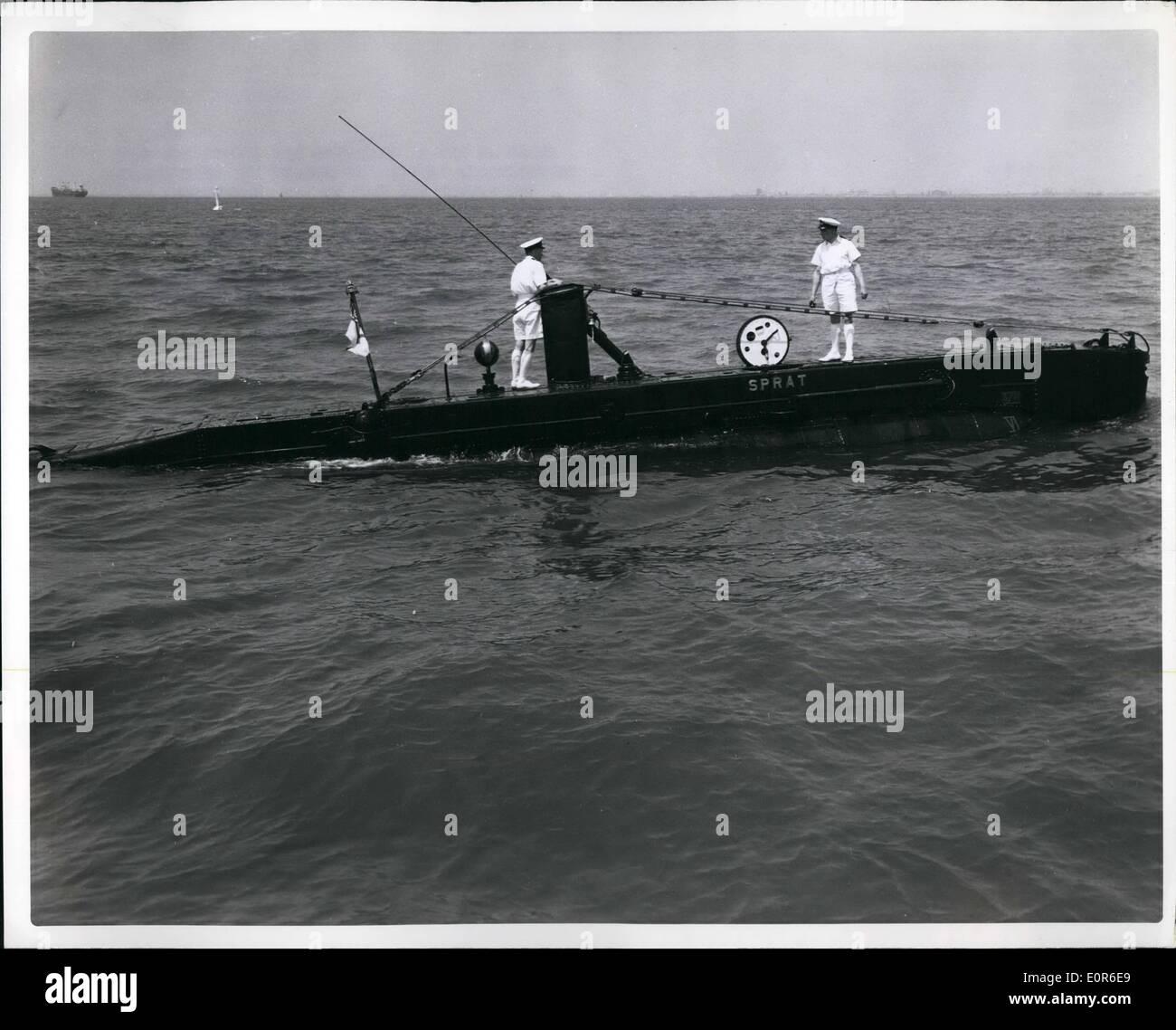 Jun. 06, 1958 - Lt. R.M Hodgson Rw left & Lt. D.A Thompson on Deck of RMS spray En route little Greek Amphibious Stock Photo