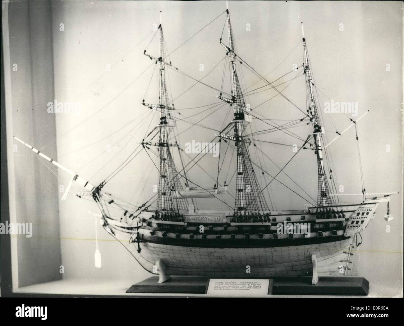 Jun. 06, 1958 - Press Preview Of The Antique Dealers' Fair: A Press Preview was held today of the Antique Dealers' Fair and Exhibition, which will be opened tomorrow by Princess Alexandra at Grosvenor House. Photo shows A model of H.M.S. Foudroyant, made in bone and ivory, valued at 325. - Stock Image