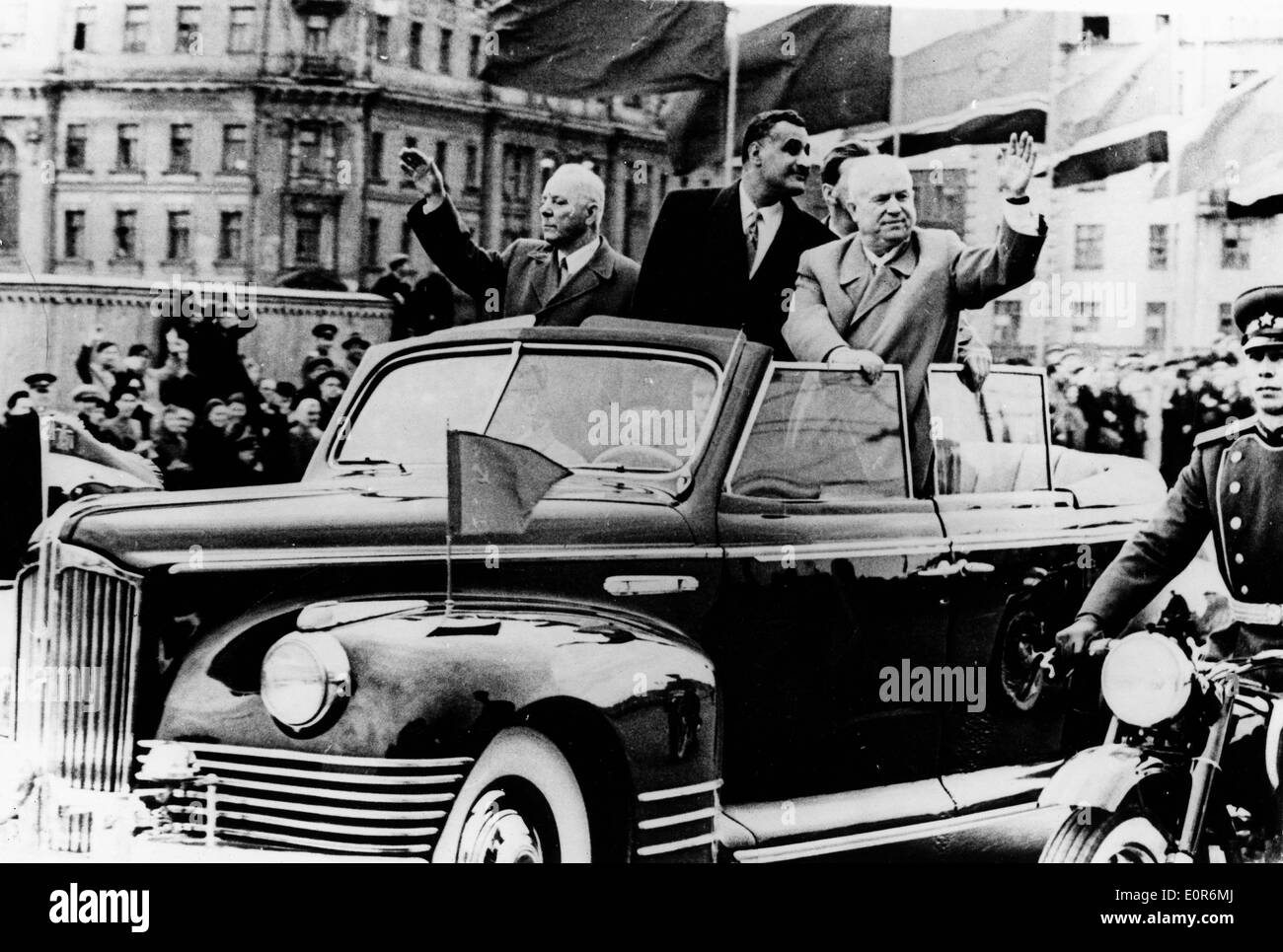 Prime Minister Nikita Khrushchev rides through streets - Stock Image