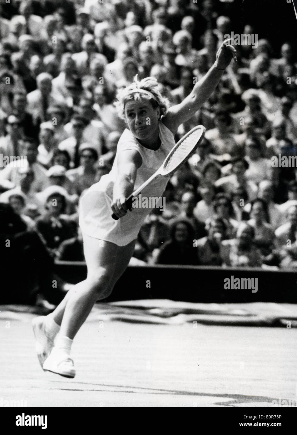 Shirley Bloomer during a match at Wimbledon - Stock Image