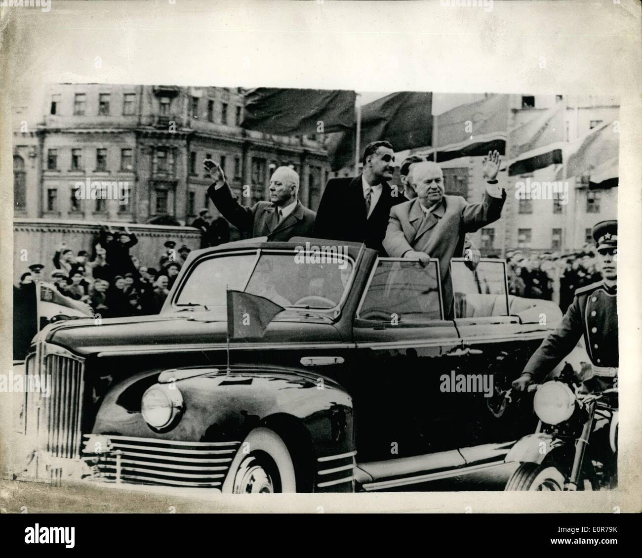 May 05, 1958 - President Nasser Arrives In Moscow; Photo Shows Gamal Abdel Nasser, President of the United Republic - Stock Image