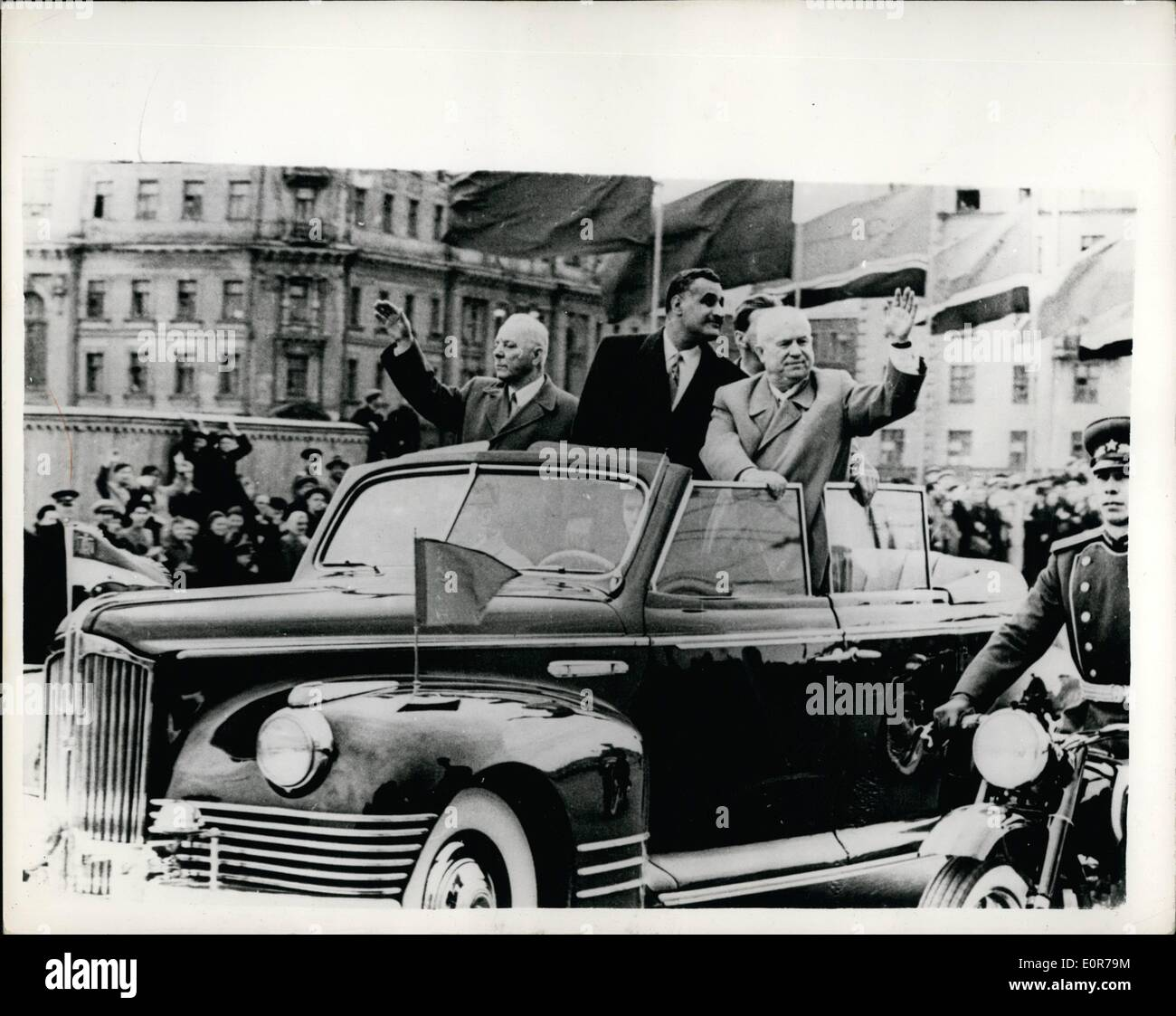 May 05, 1958 - President Nasser Arrives In Moscow: Gamal Abdel Nasser, President of the United Arab Republic entre), - Stock Image