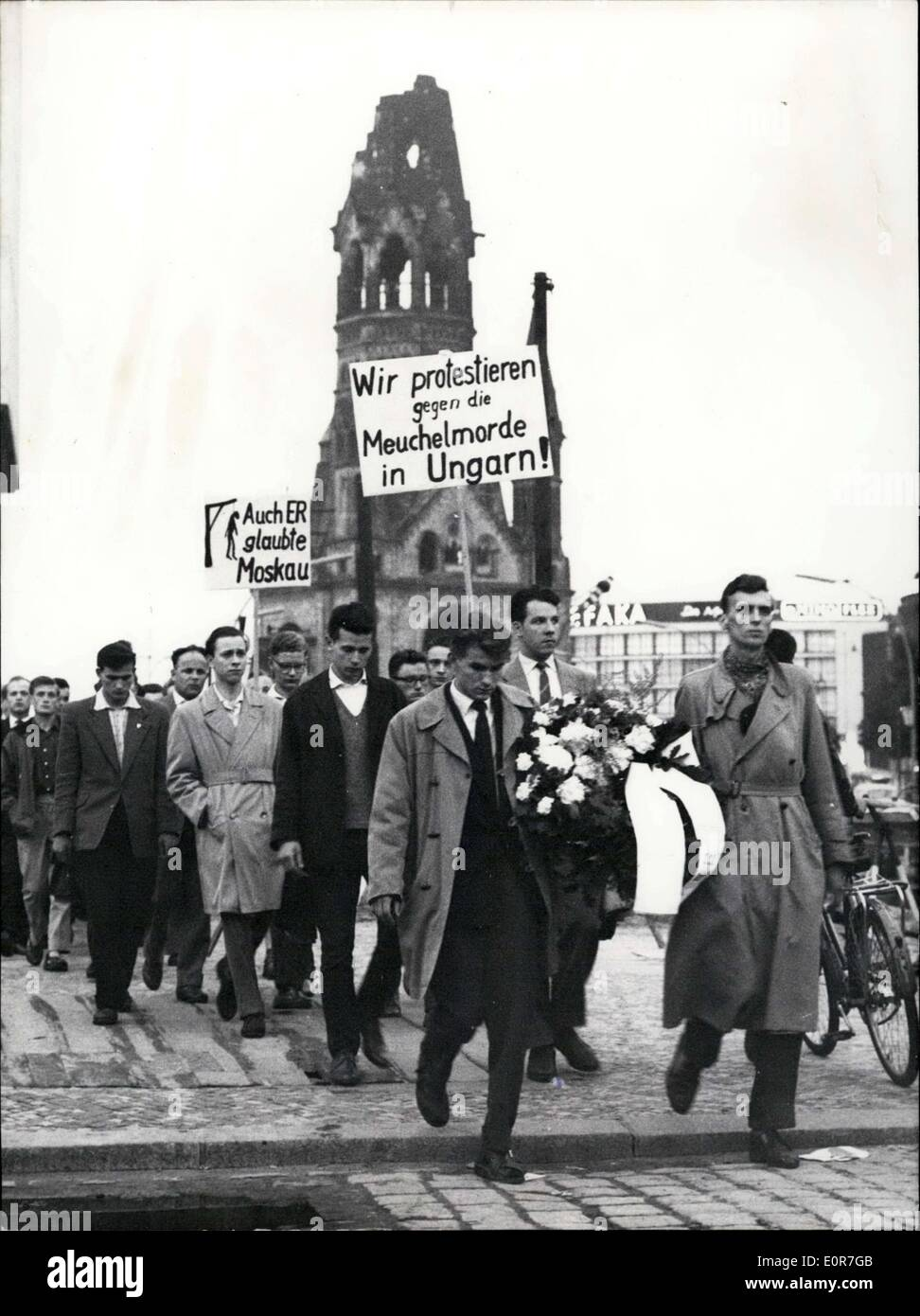 Jun. 25, 1958 - The members of a student union in German marched in silence to the memorial for victims of Stalinism to protest - Stock Image
