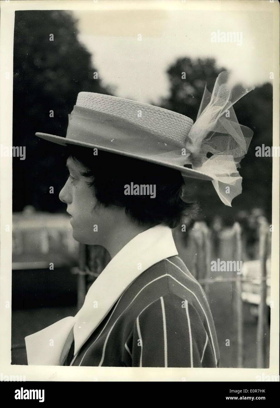 Jul. 03, 1958 - It's bcater day at Henley: photo shows 16-year old Sally Anne Ripley. of farnham royal wearing a straw boater trimmed with blue not - at Henley today, where it appears to be boater fashion day for the ladies - on the second day of the famous regatta. - Stock Image