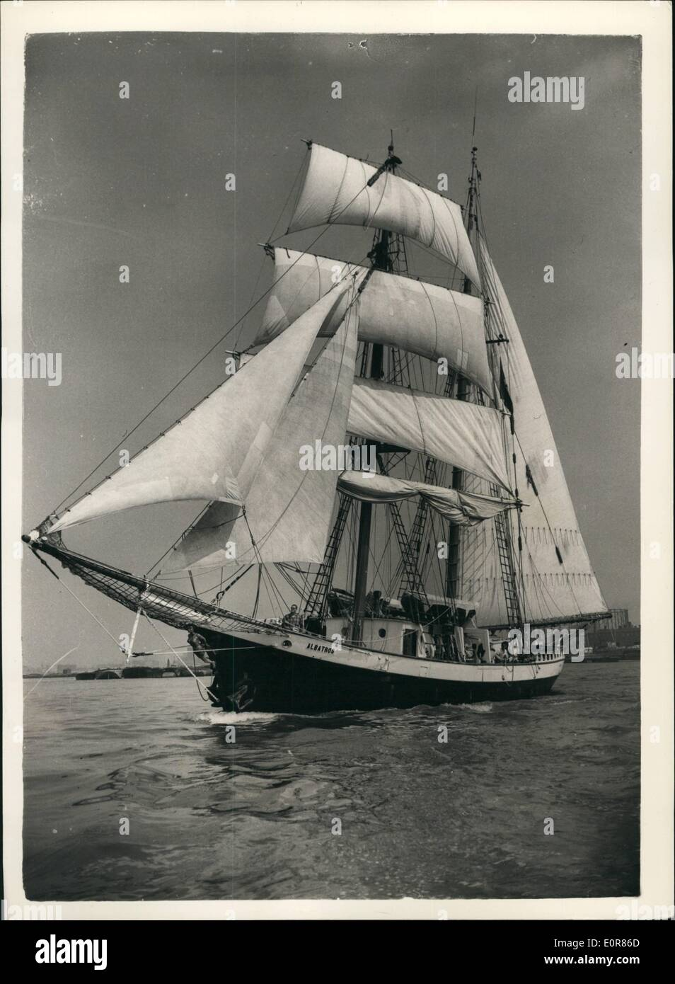 Jul. 07, 1958 - Brigartine Arrives In London: The 117-ft brigantine ''Albatros'', owned and captained by American novelist, Ernest K. Gann, which left New York on June 15th, arrived at Tower Bridge today, after being delayed by bad weather in the Atlantic. Among the crew is Dodie Post, who was captain of the U.S. Women's Olympic team in 1948, and who is one of the few woman navigators over to guide a sailing ship on a trans-ocean voyage. Photo shows View of the ''Albatron'' under  Greenwich on the way to Tower  today. - Stock Image
