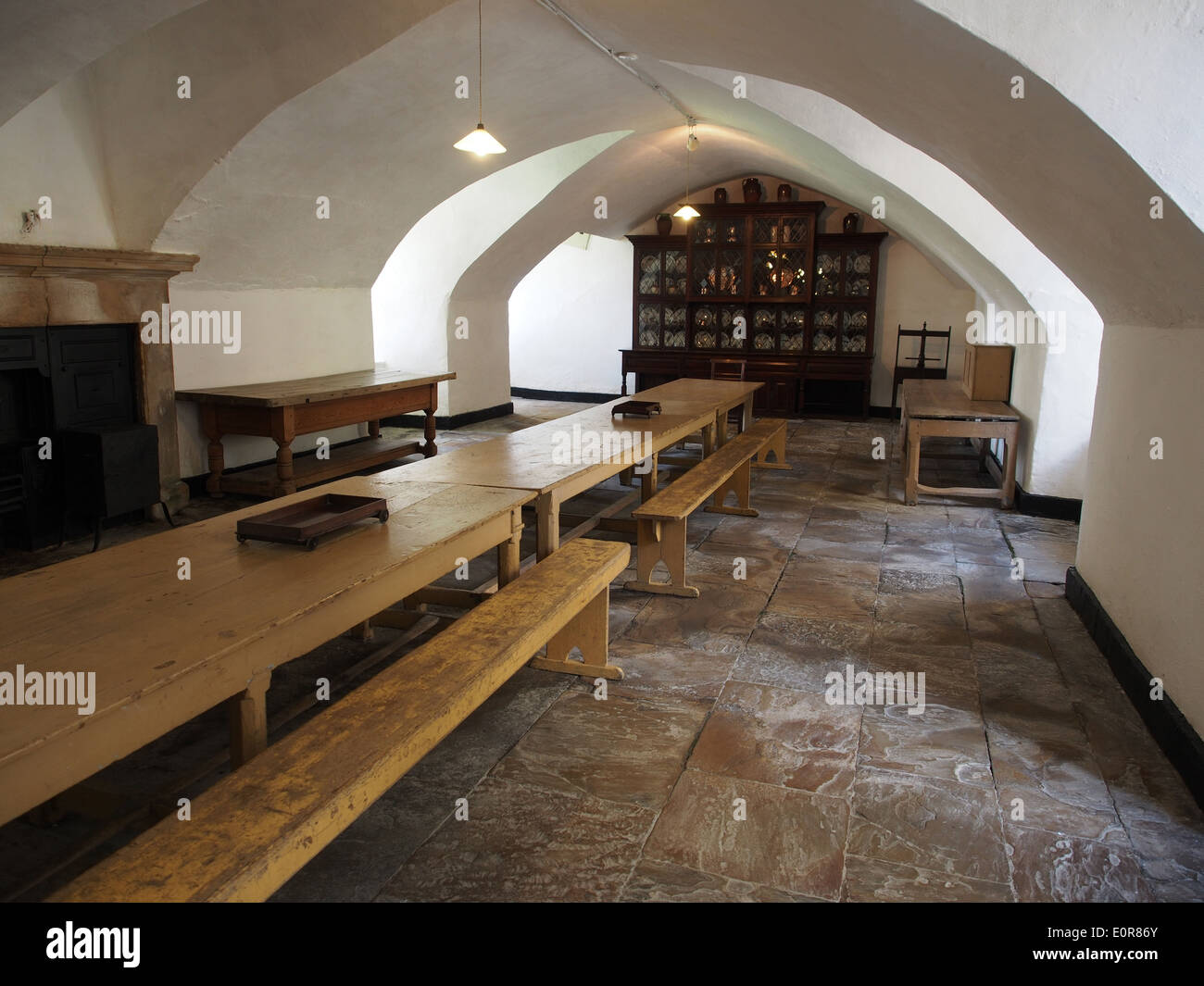 Servants dining hall at Raby Castle, England. - Stock Image