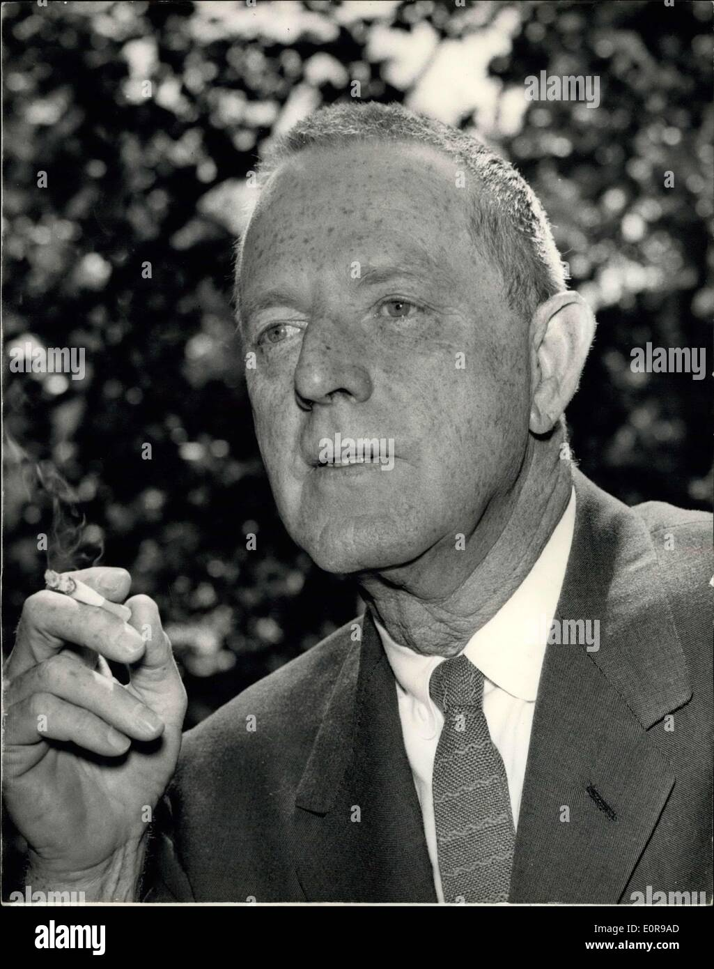 Aug. 27, 1958 - Reception for the Author of the Novel ''God's Little Acre'': There was a press reception today for 55-year-old Erskine Caldwell, author of the world's third best seller ''God's Little Acre'' which has sold 7,000,000 copies. Caldwell is in London to attend the premiere of the film version of his novel at the London Pavilion on Sept. 5th. Photo shows American novelist Erskine Caldwell seen at the press reception at the Savoy Hotel today. - Stock Image