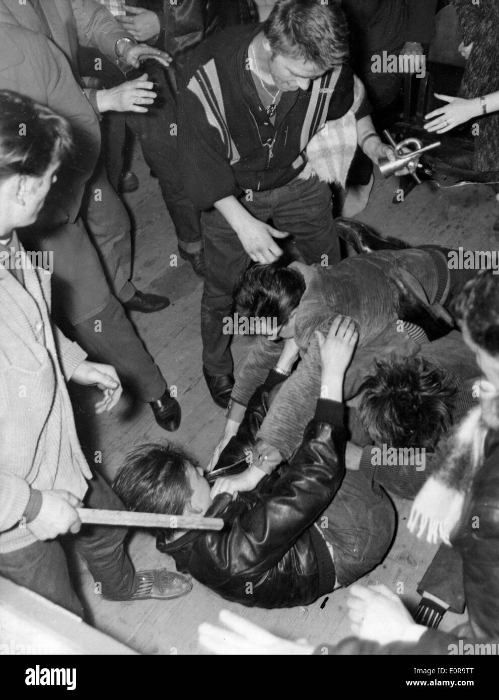 Fight breaks out at Bill Haley and the Comets concert - Stock Image