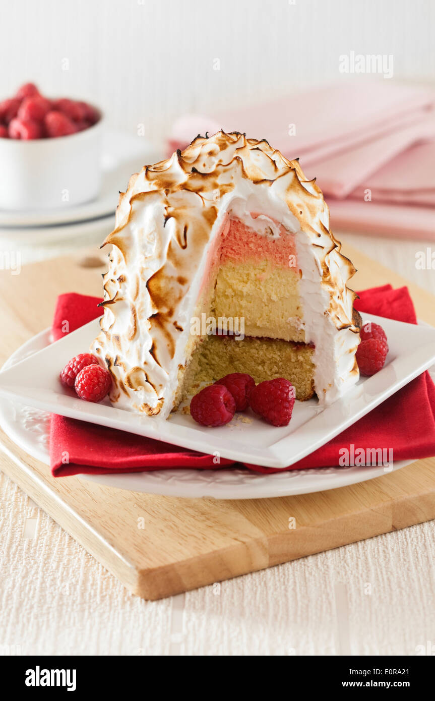 Baked Alaska. Ice cream and meringue dessert - Stock Image