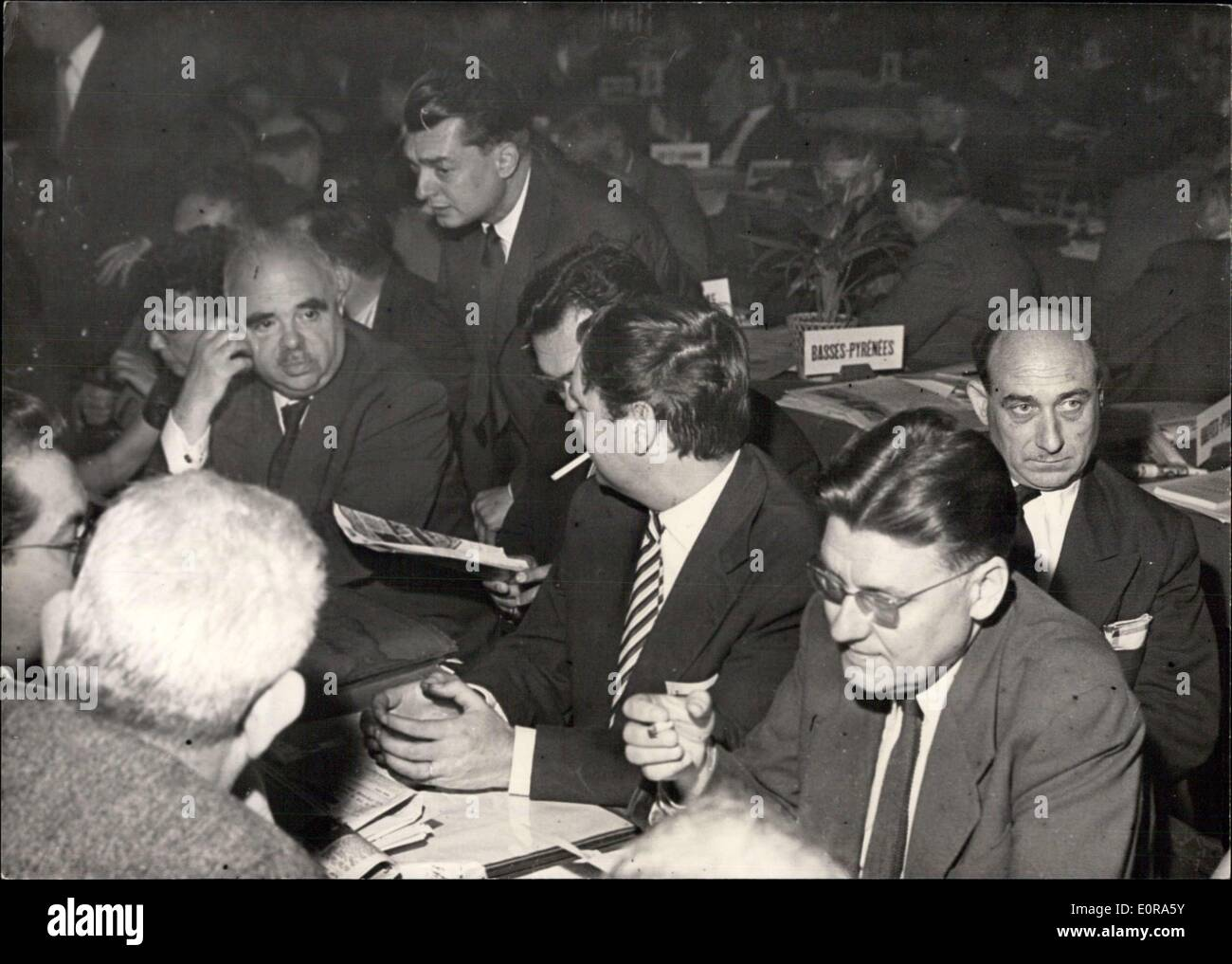 Sep. 11, 1958 - French Socialists Discuss ''Yes'' Or ''No'' Question The National congress of the French socialist party opened - Stock Image