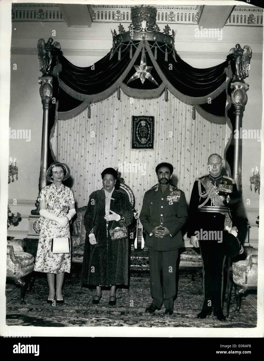 Nov. 11, 1958 - Duke and Duchess Of Gloucester In Ethiopia. Photo Shows: Posed group in the Throne Room at Addis Ababa - the Duke and Duchess of Gloucester - with the Emperor and Empress Haile Selassie - on arrival of the Royal Visitors on their official visit to Ethiopia. - Stock Image